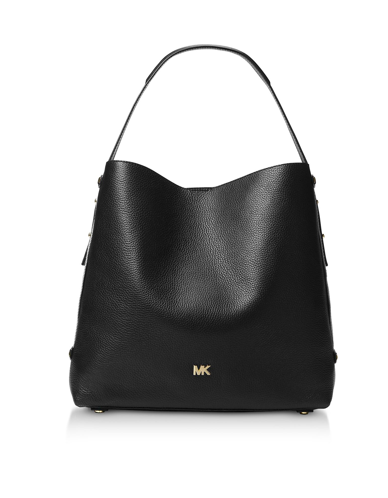 b89fdd606b3e Lyst - Michael Kors Griffin Large Leather Shoulder Bag in Black