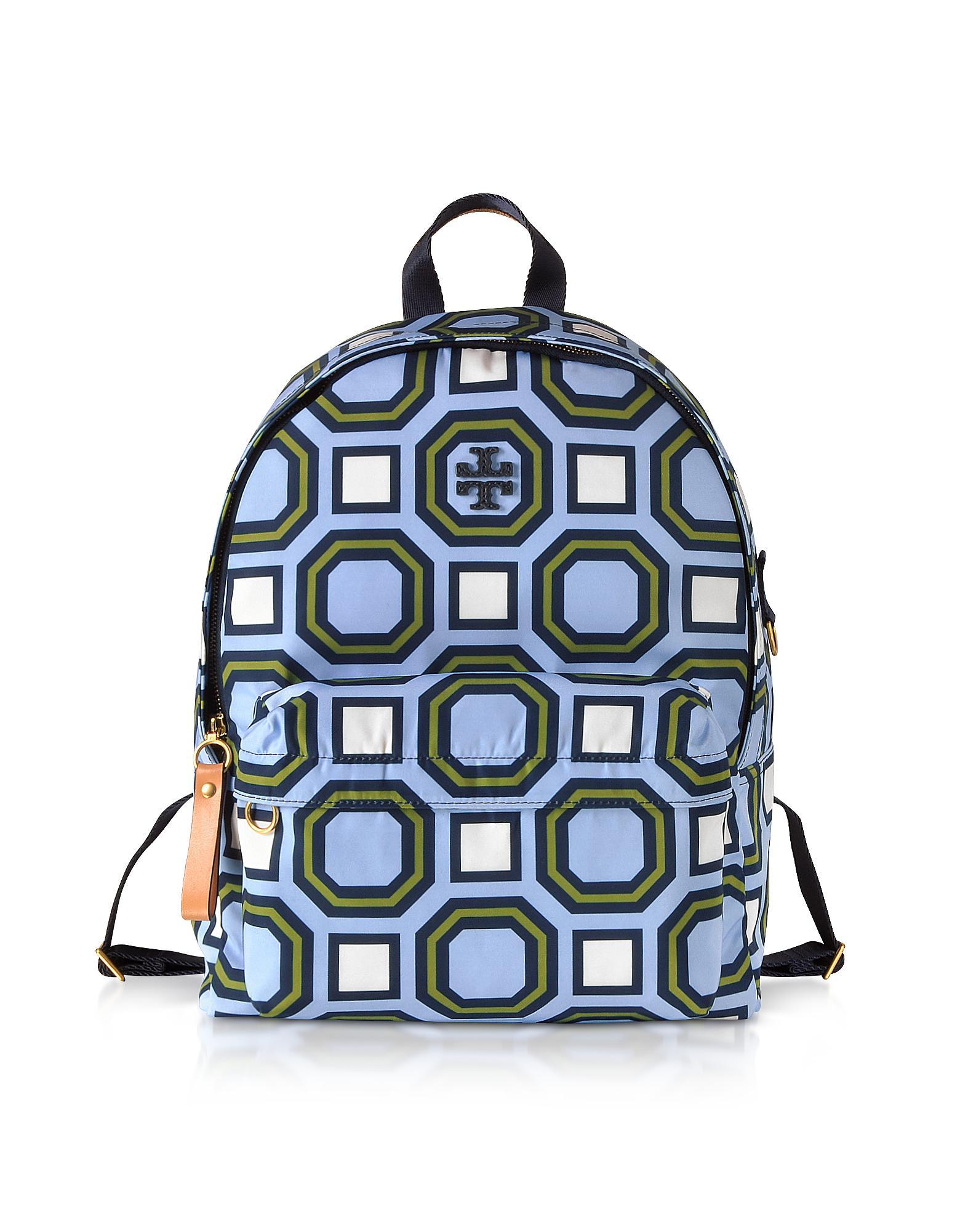 f4c583b18cf Tory Burch Octagon Square Print Nylon Backpack in Blue - Lyst