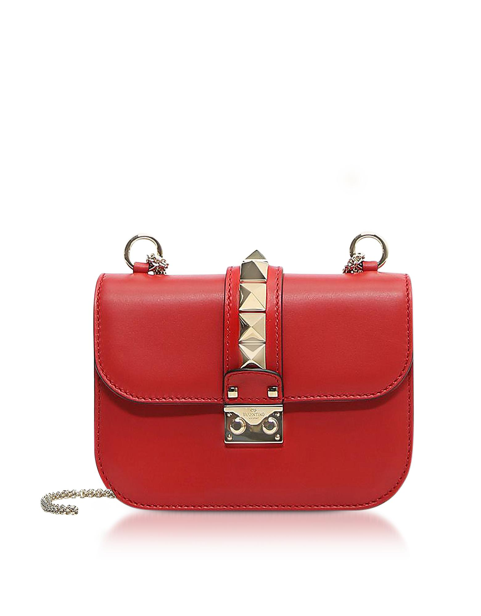 4649054c875 Lyst - Valentino Lock Small Red Leather Chain Shoulder Bag in Red
