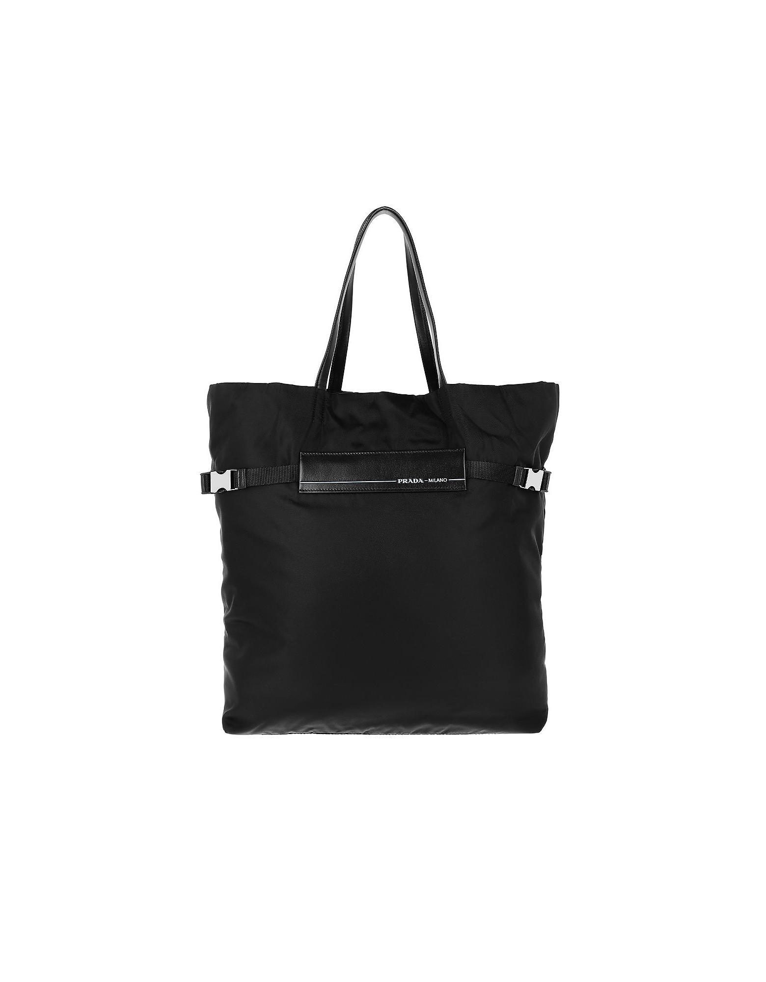95818662216bd4 Lyst - Prada Logo Tote Bag Nylon Black in Black