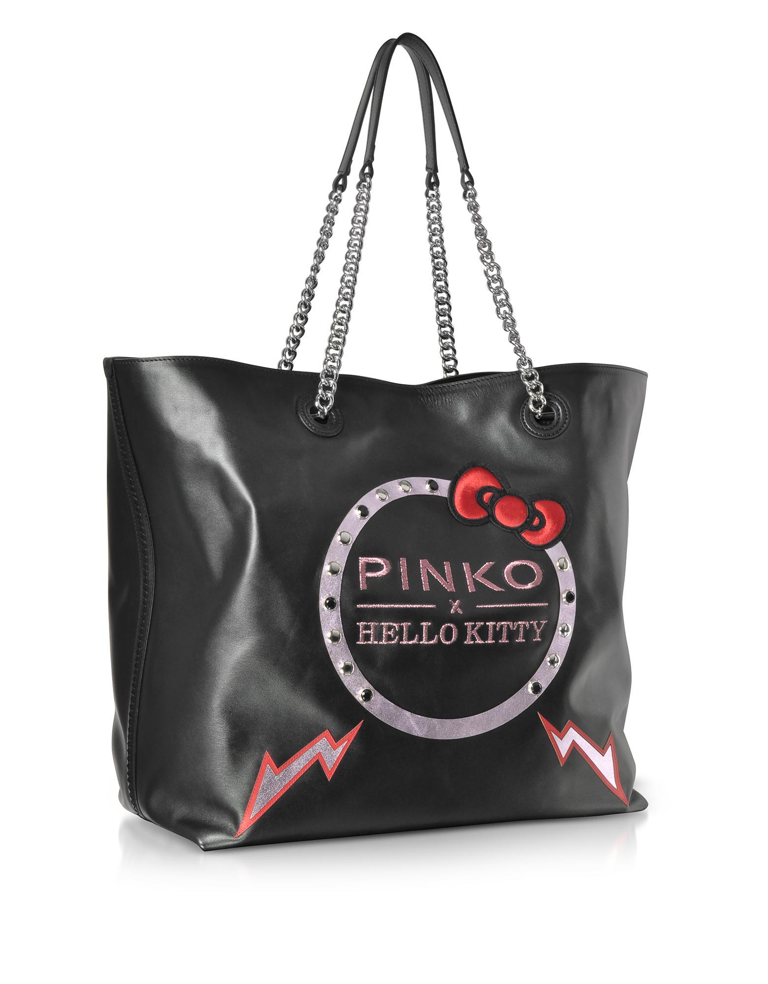 2113baa119dc Pinko Hello Kitty Ribbon Maxi Black Eco Leather Tote Bag in Black - Lyst