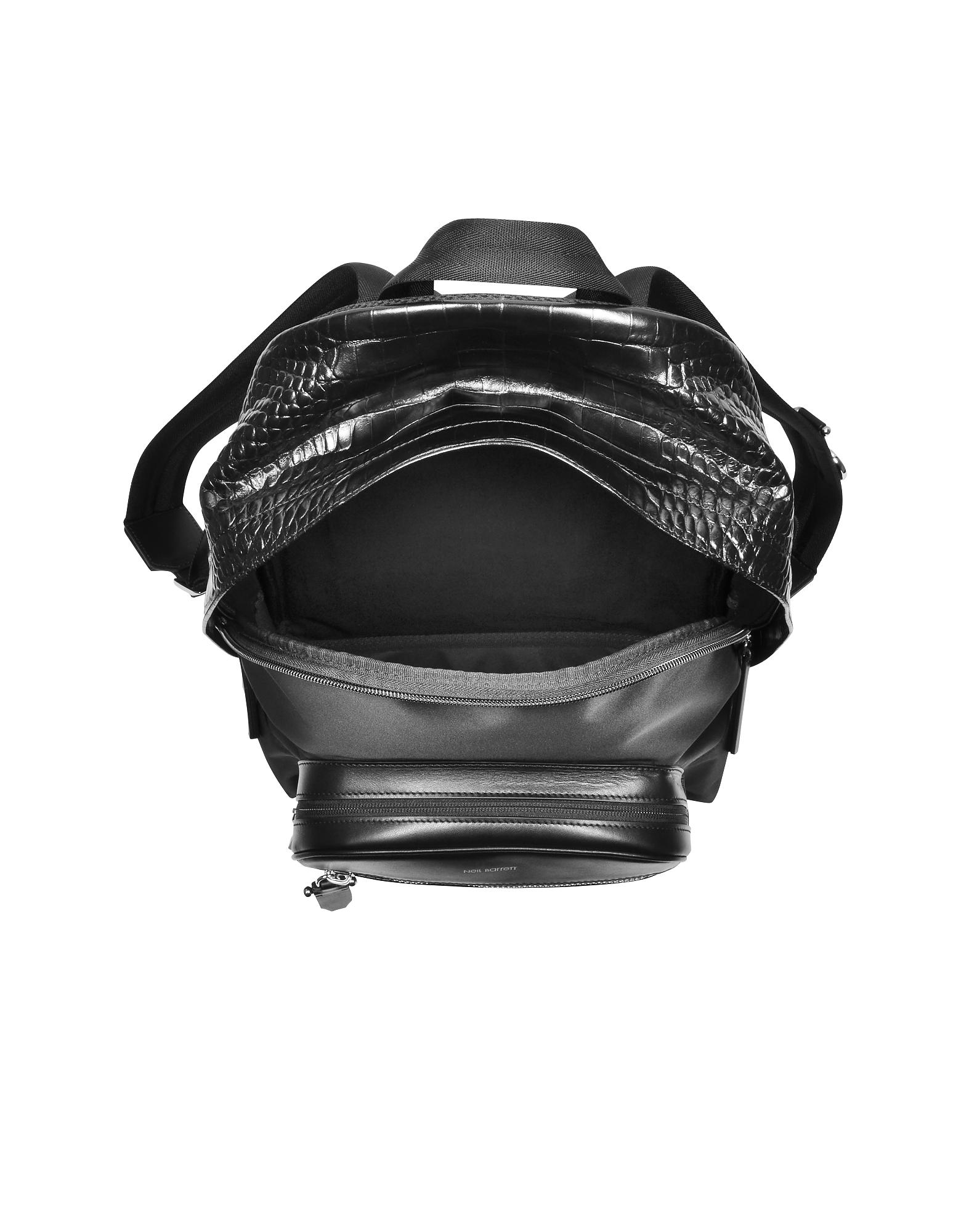 d9762d41b5 Lyst - Neil Barrett Black Embossed Croco Leather And Nylon Classic ...