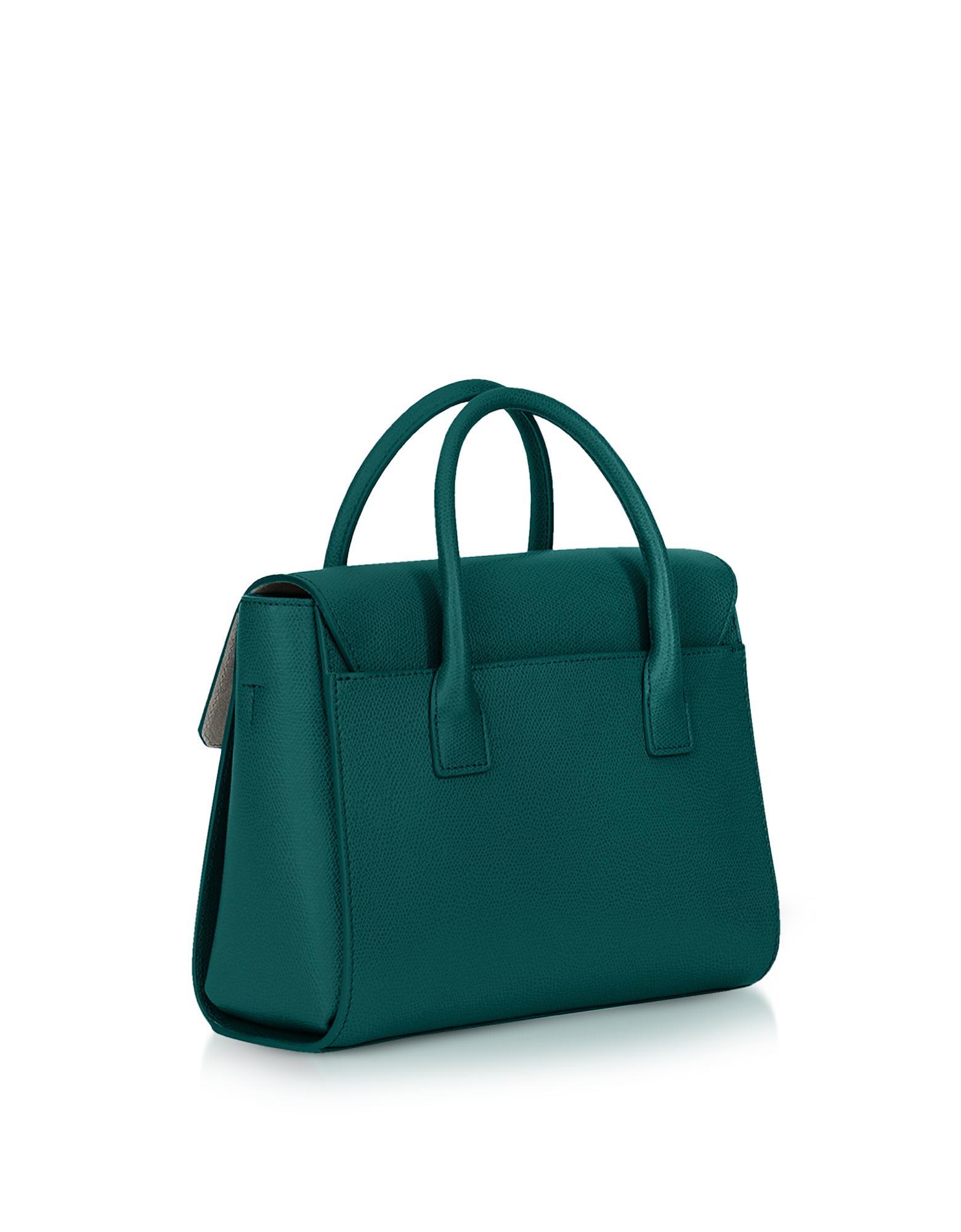 6aae86e43853 Lyst - Furla Genuine Leather Metropolis Small Satchel Bag in Green