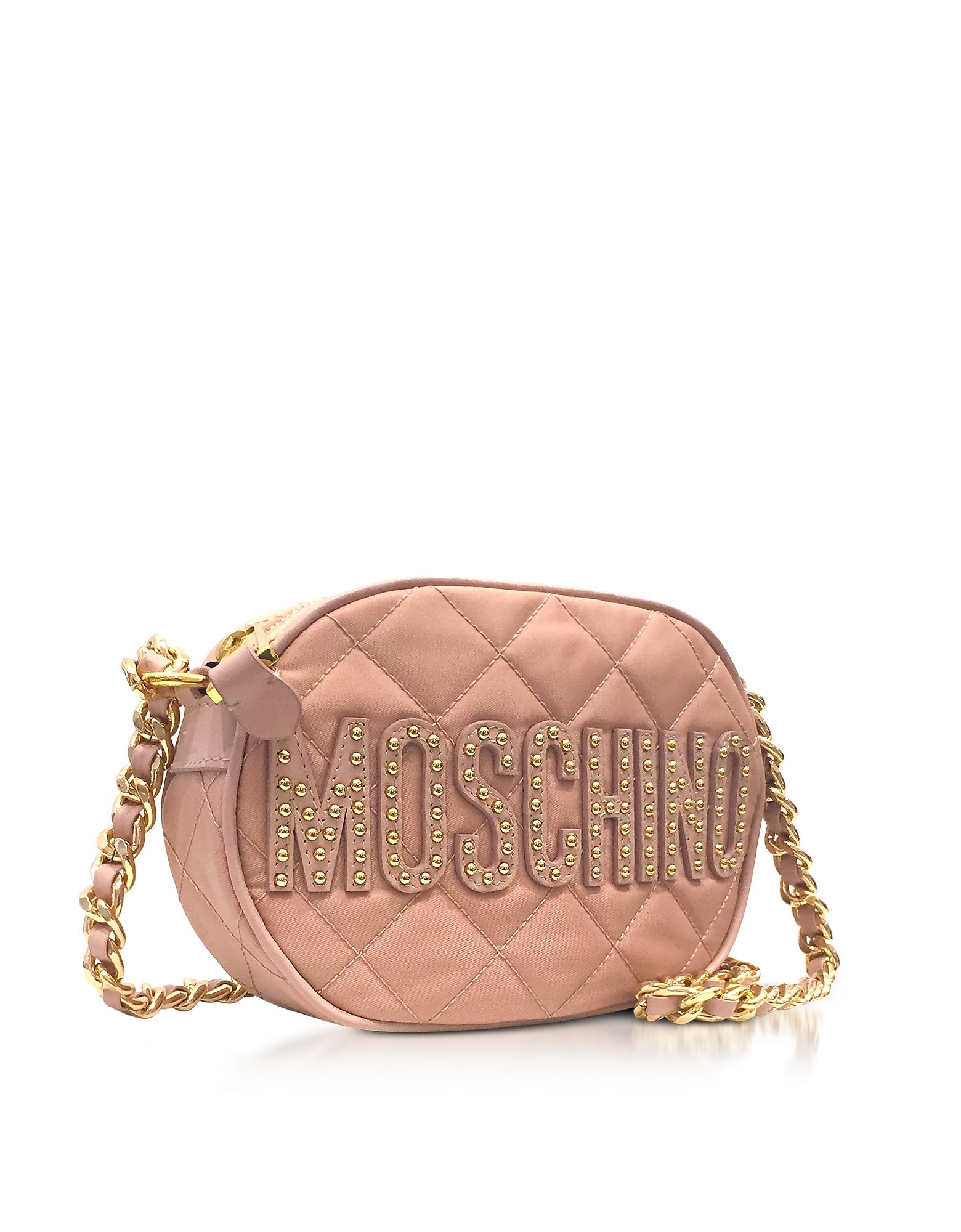 Lyst Moschino Pink Nylon Quilted Oval Crossbody Bag W