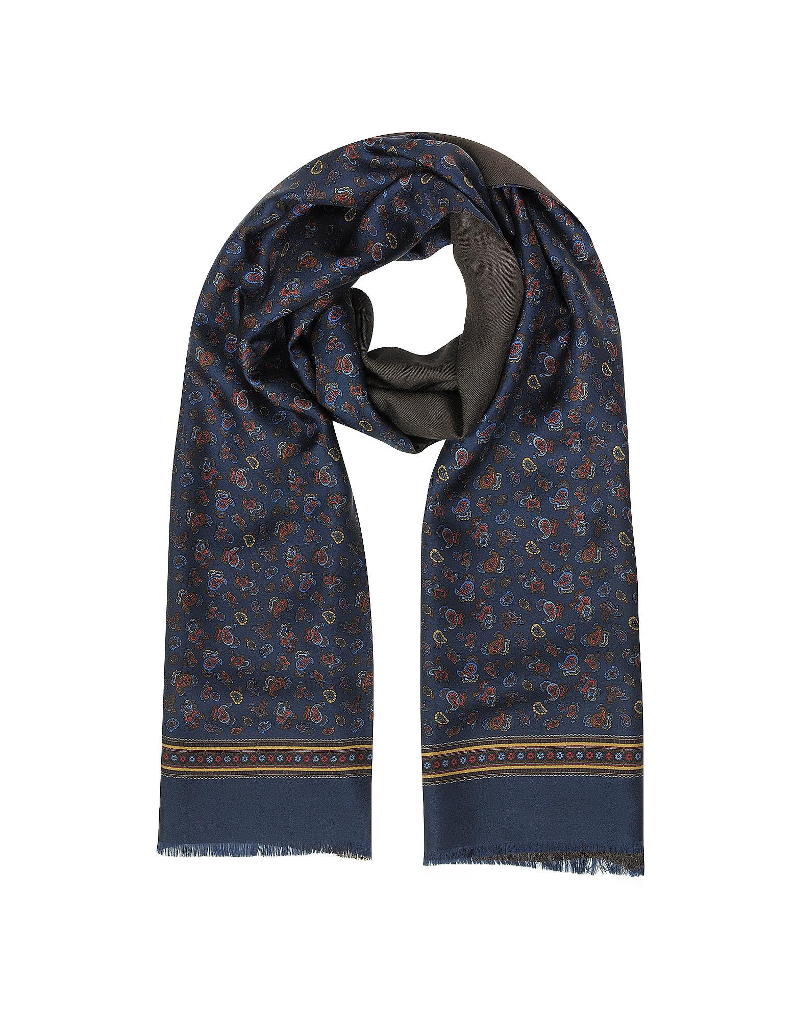 Forzieri Micro Paisley Print Silk & Modal Reversible Men's Scarf in Blue for Men | Lyst