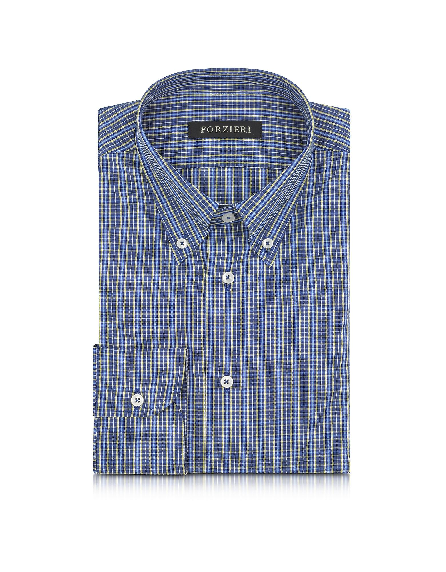 Forzieri blue and yellow plaid cotton slim fit men 39 s shirt for Blue and yellow plaid dress shirt