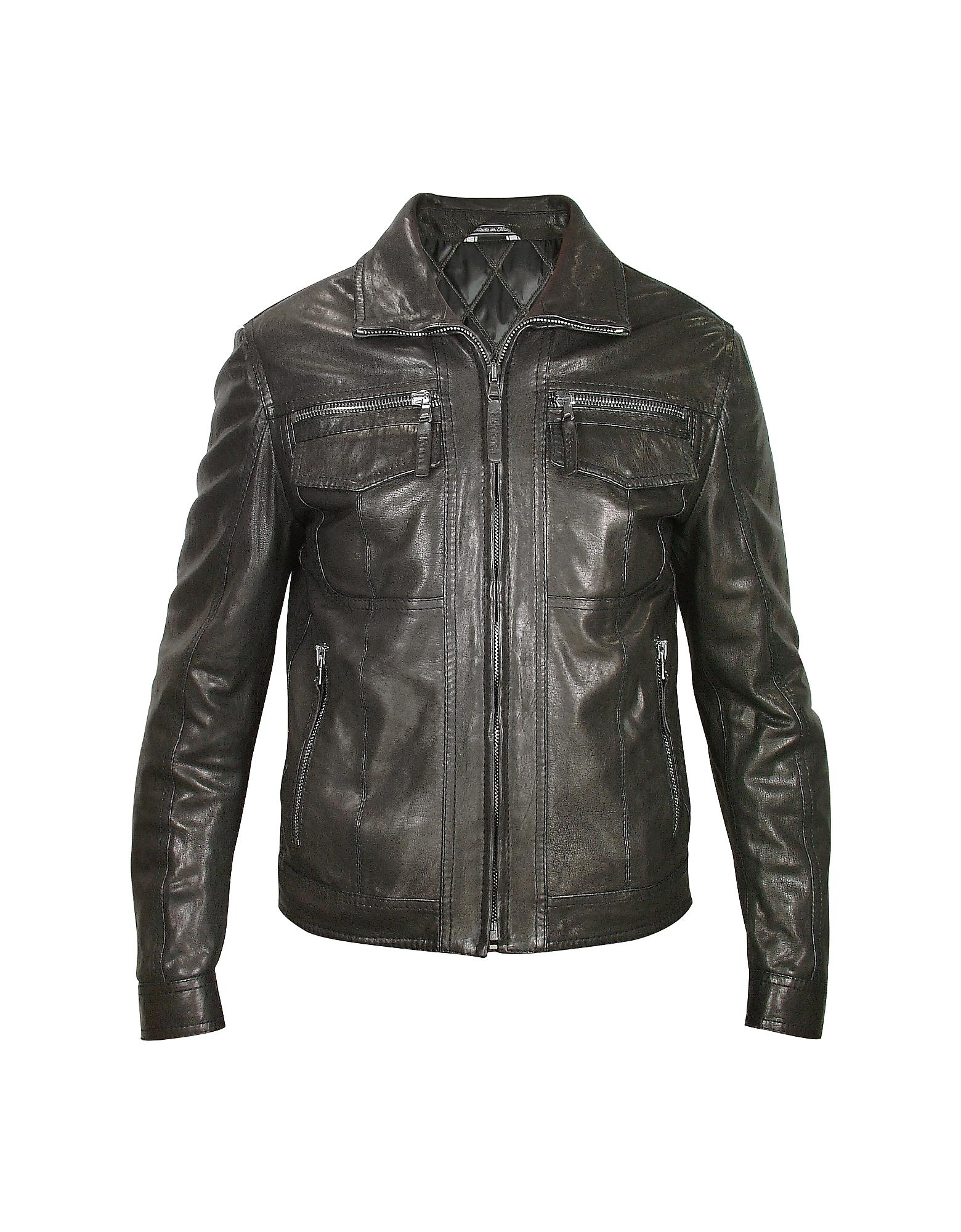 Lyst Forzieri Men S Black Genuine Leather Motorcycle