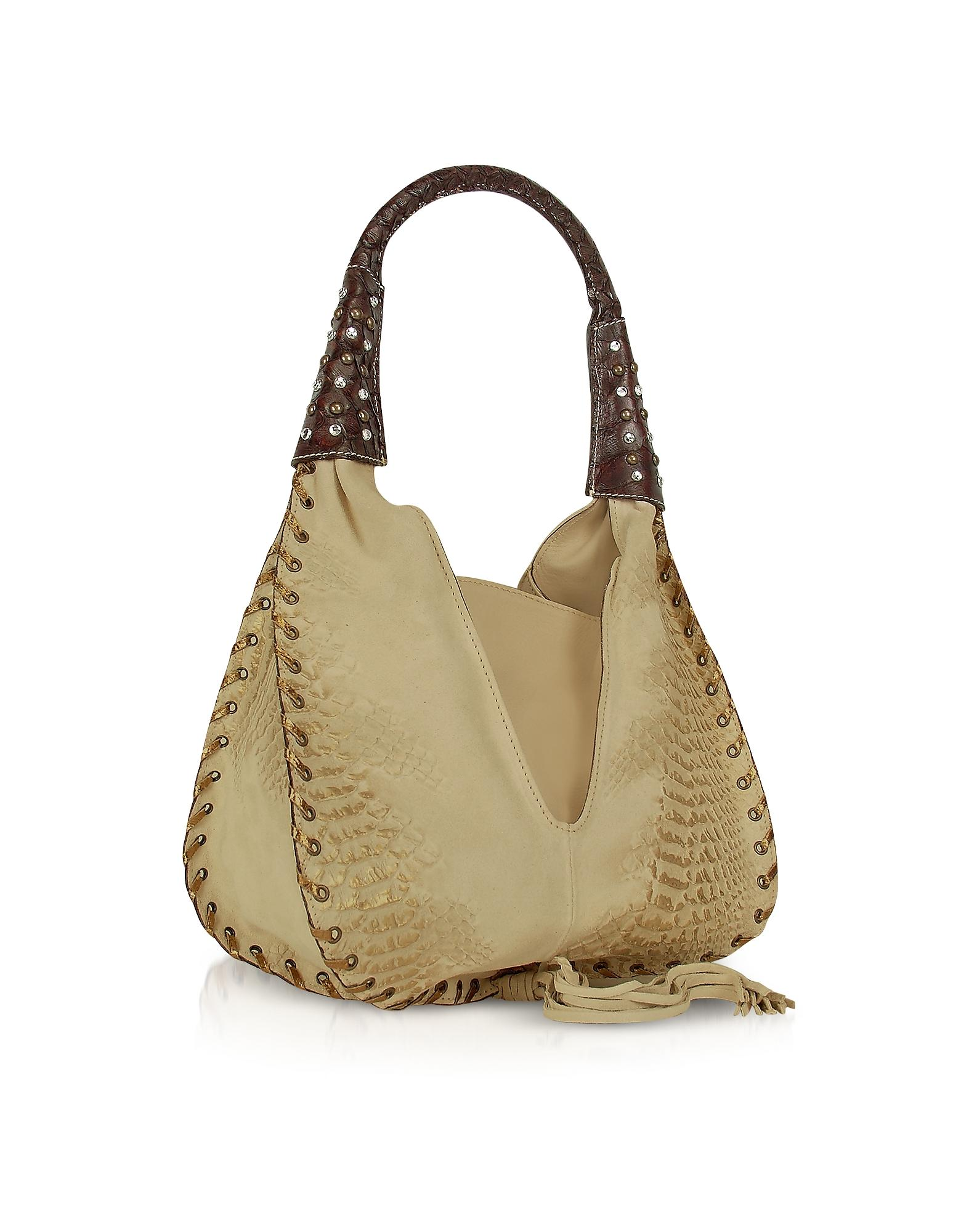 Ghibli Jeweled Beige Suede And Reptile Leather Hobo Bag in ...
