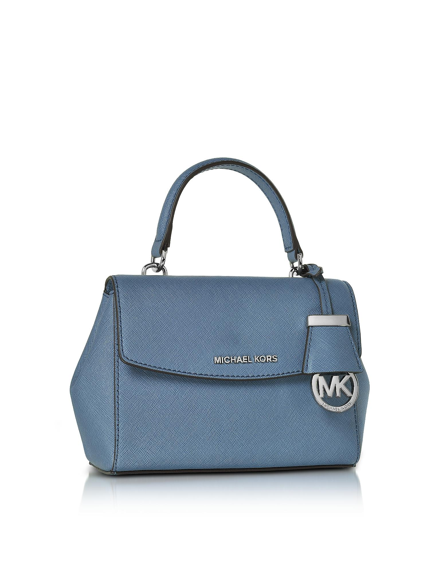 73e0890333d6 Lyst - Michael Kors Ava Xs Denim Saffiano Leather Crossbody Bag in Blue