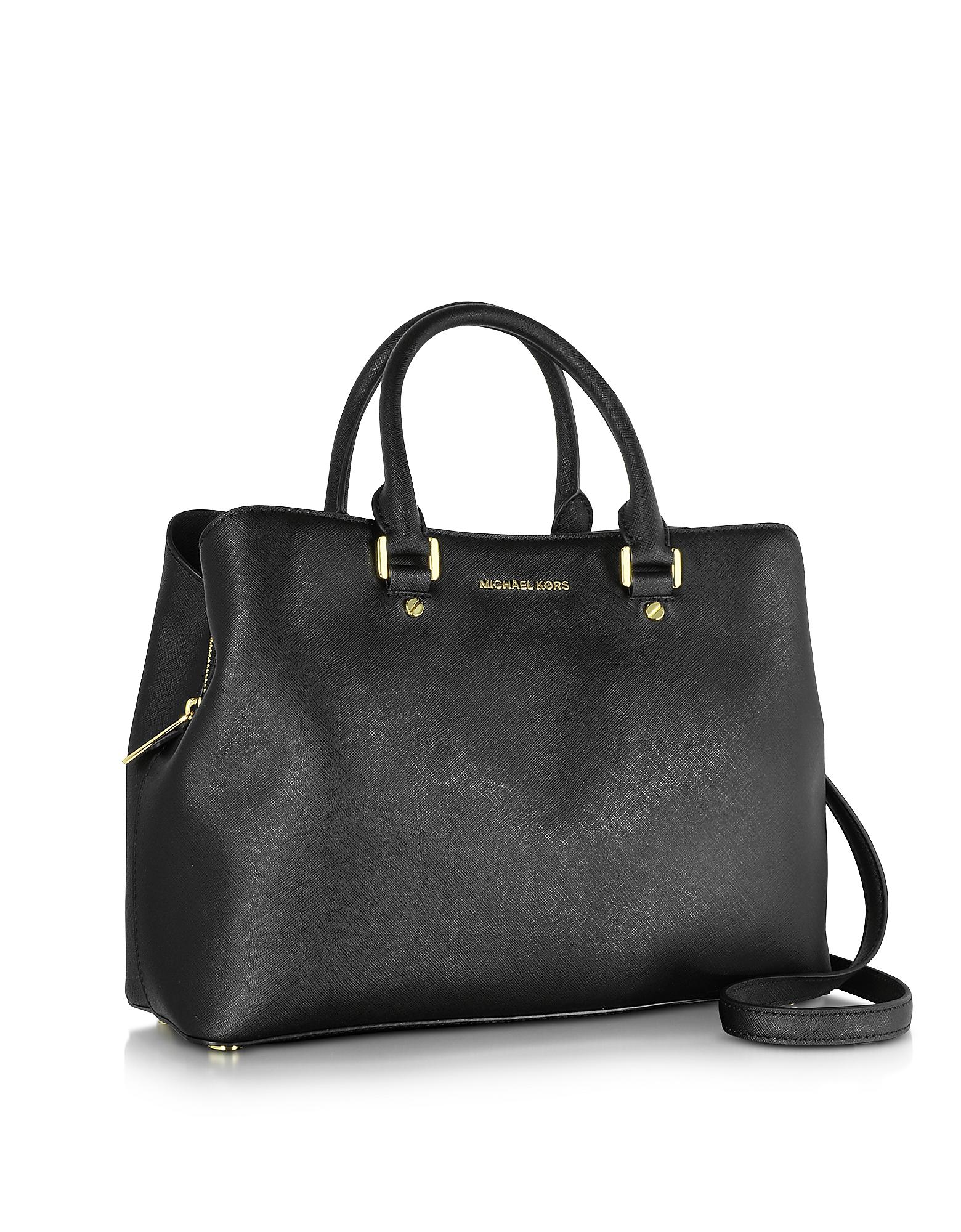 fa4a3dd5e36fe3 Lyst - Michael Kors Savannah Large Saffiano Leather Satchel Bag in Black