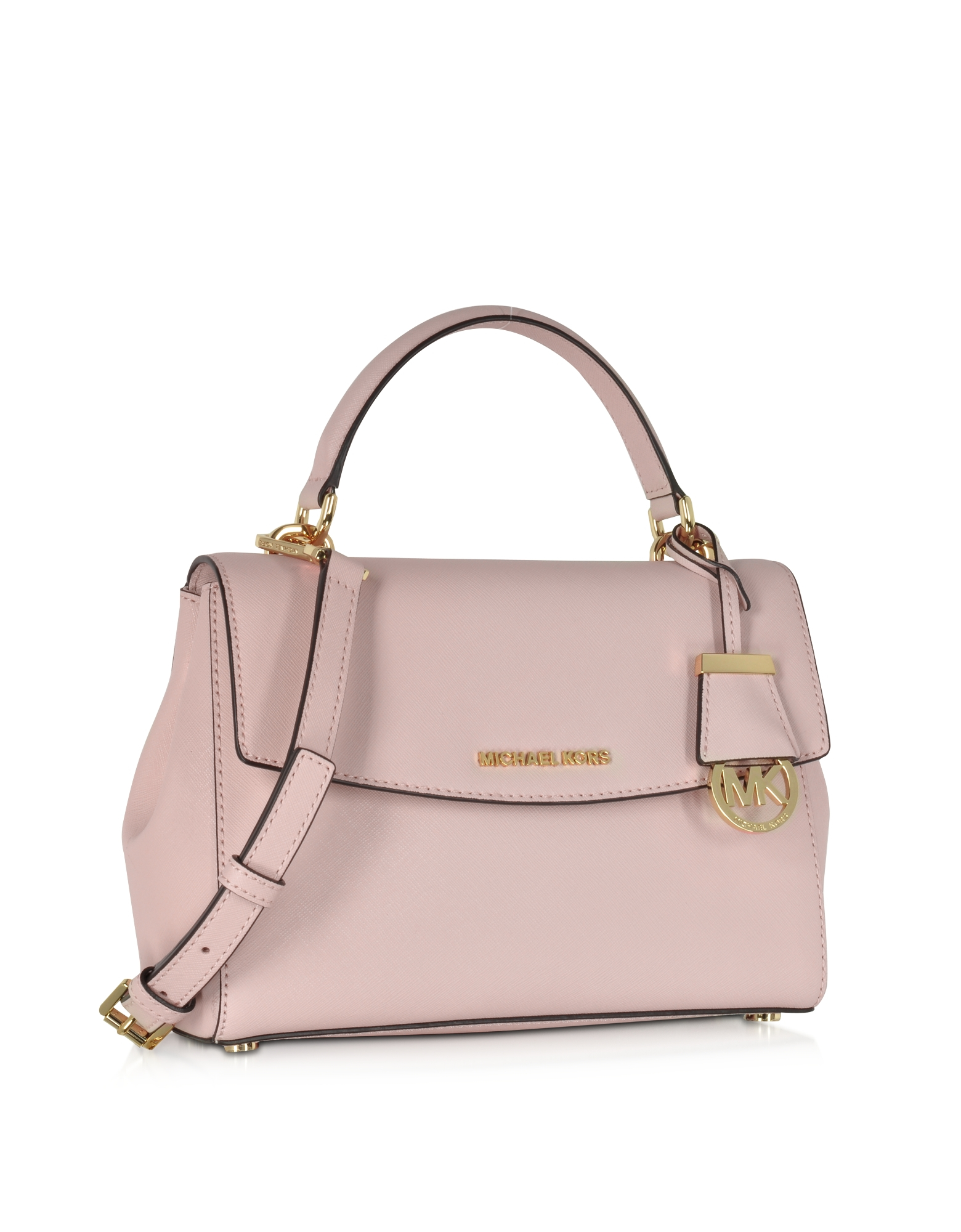 9b12bb26ab41 Michael Kors Ava Small Blossom Pink Saffiano Leather Satchel Bag in ...