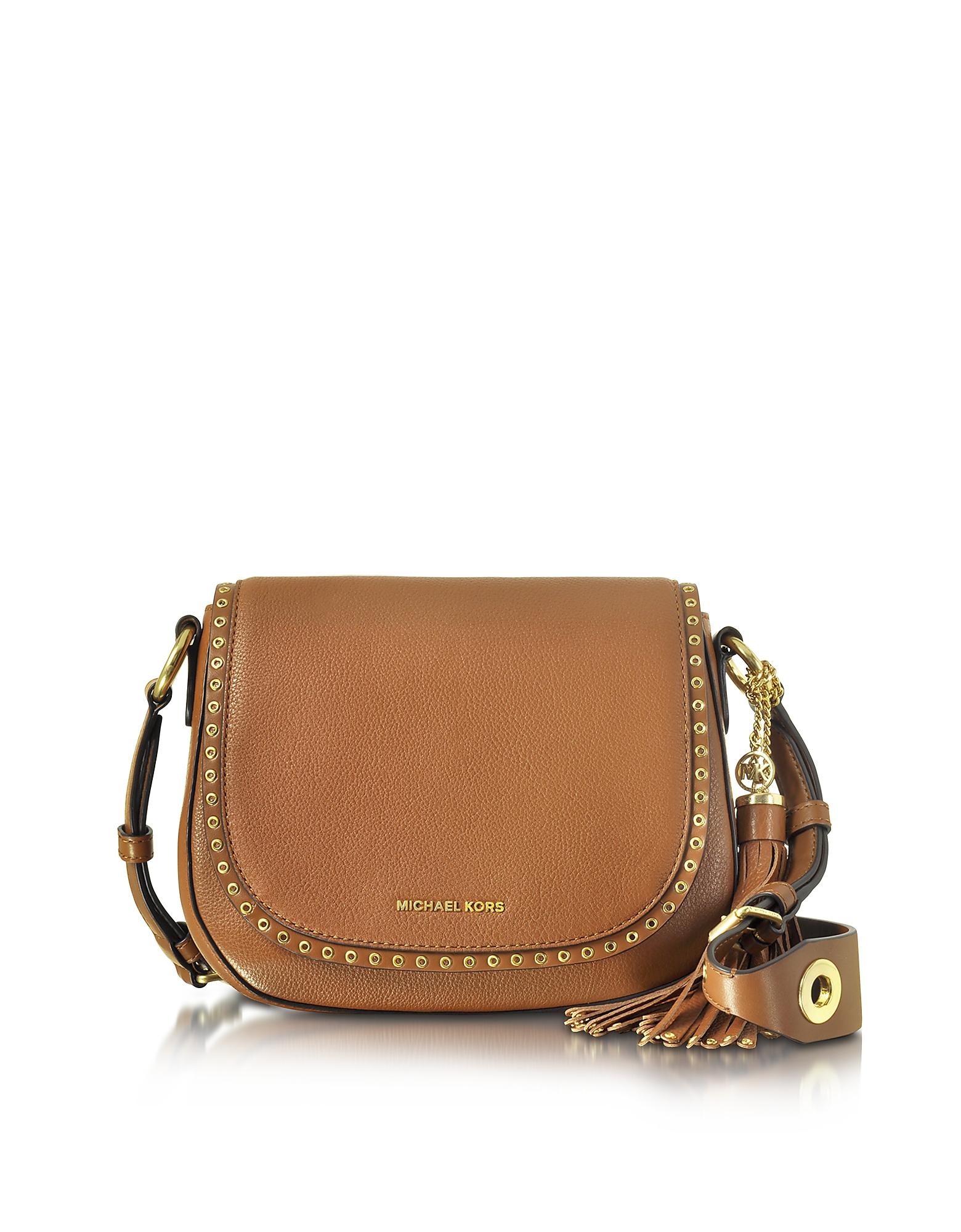20c887c29f70 ... canada lyst michael kors brooklyn medium luggage leather saddle bag in  brown caba5 93f3c
