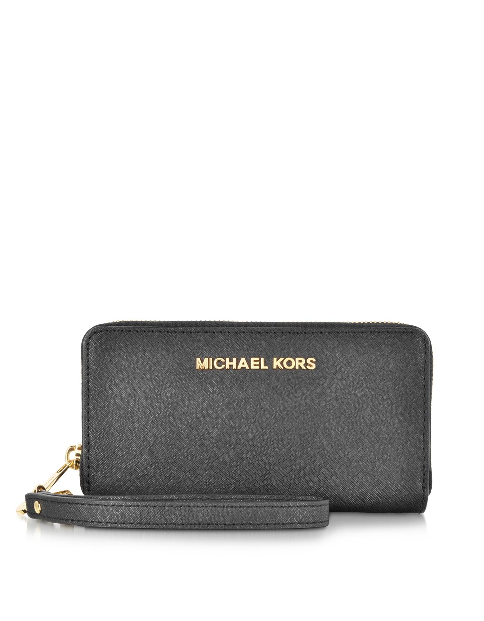 350abc32565d Michael kors Jet Set Travel Black Saffiano Leather Tech Continental Wallet  in Multicolor (black .