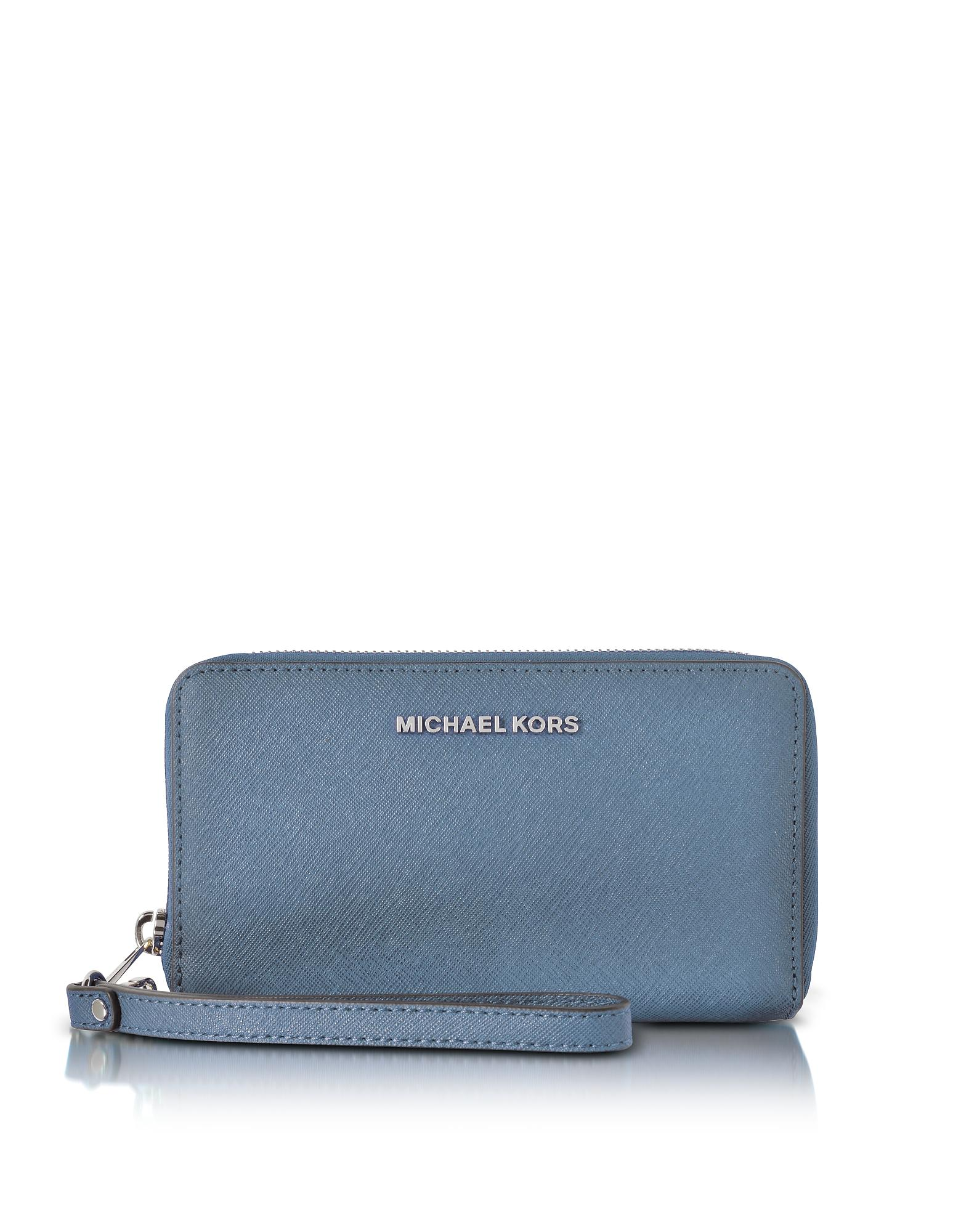 46bb7877307b Michael Kors Wallet Denim. Michael kors Jet Set Travel Large Flat Mf Denim Saffiano  Leather Phone Case/wallet in