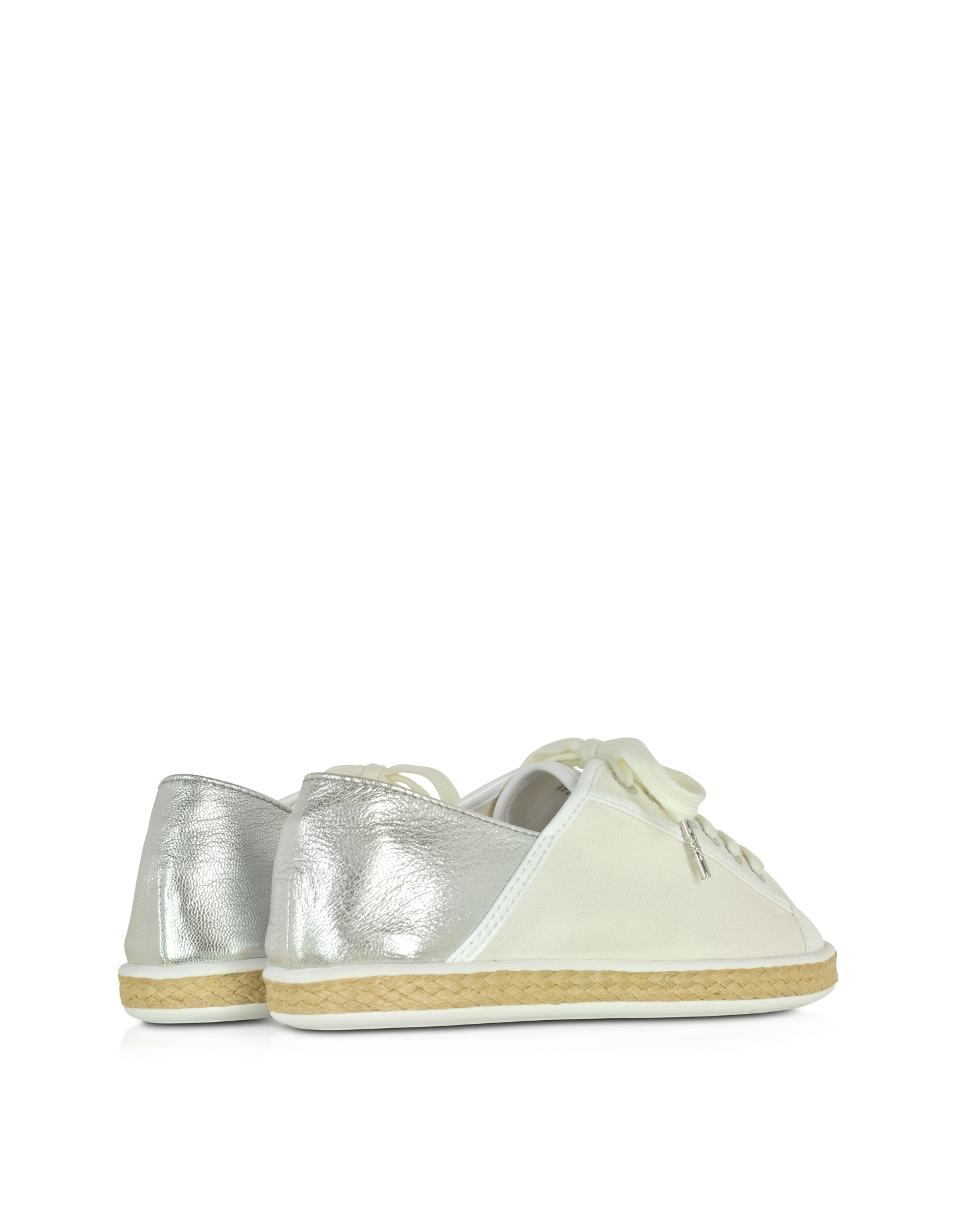 michael kors kristy silver canvas and leather sneaker in
