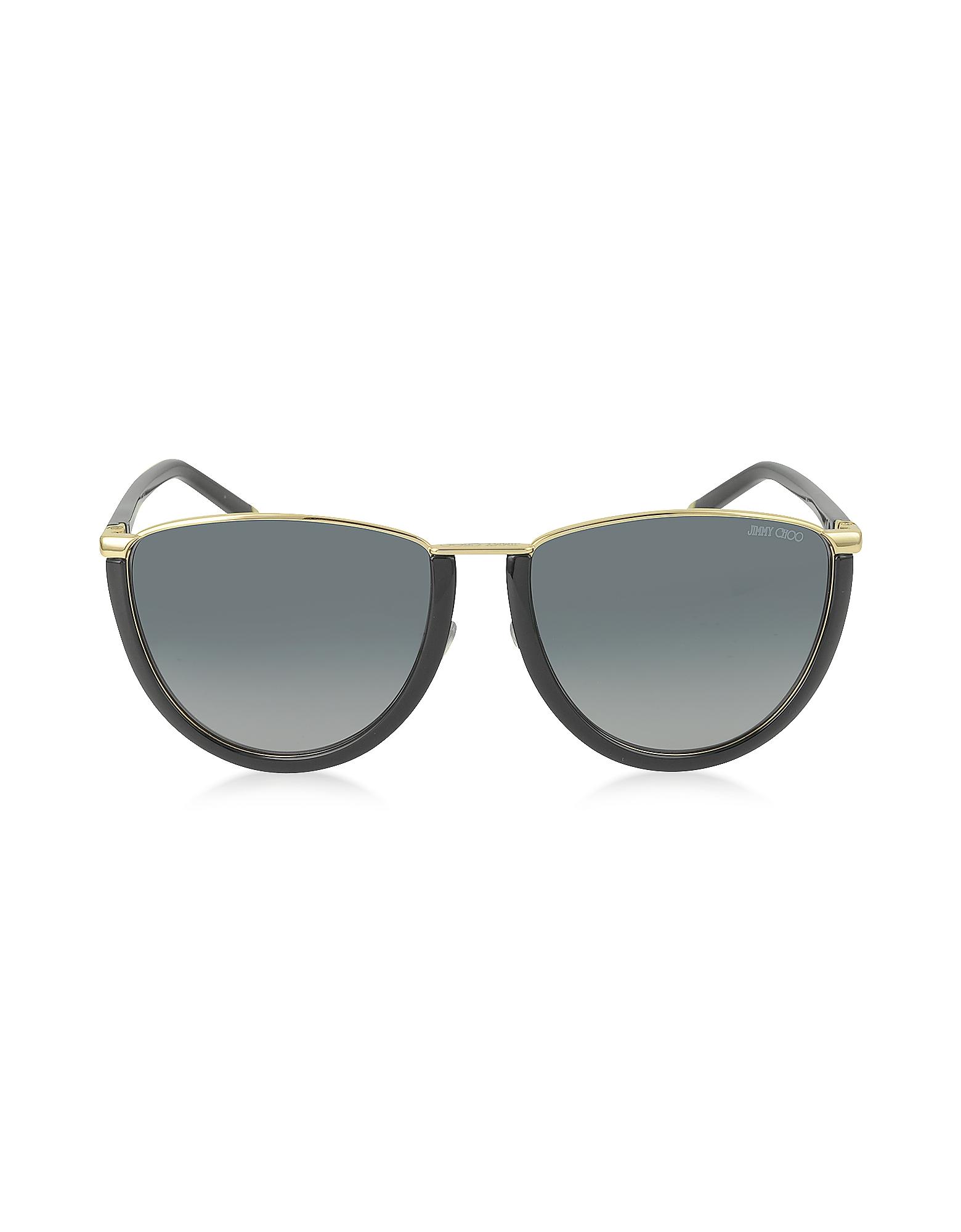 1146a285674 Jimmy Choo - Mila s Wl4hd Gold And Black Women s Sunglasses - Lyst. View  fullscreen