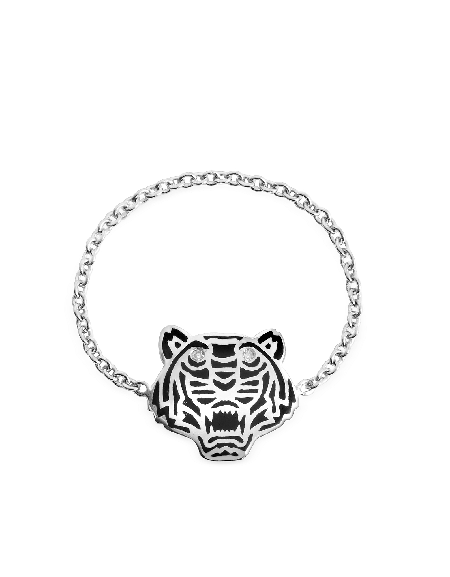 kenzo black lacquer sterling silver mini tiger ring lyst