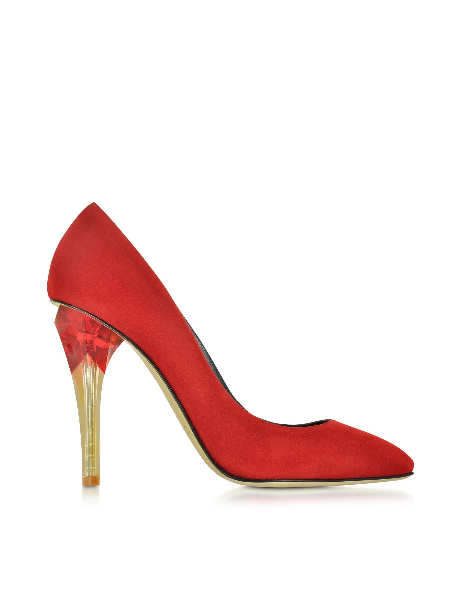 Oscar de la renta Pia Ruby Red Suede W/lucite High Heel Pump in