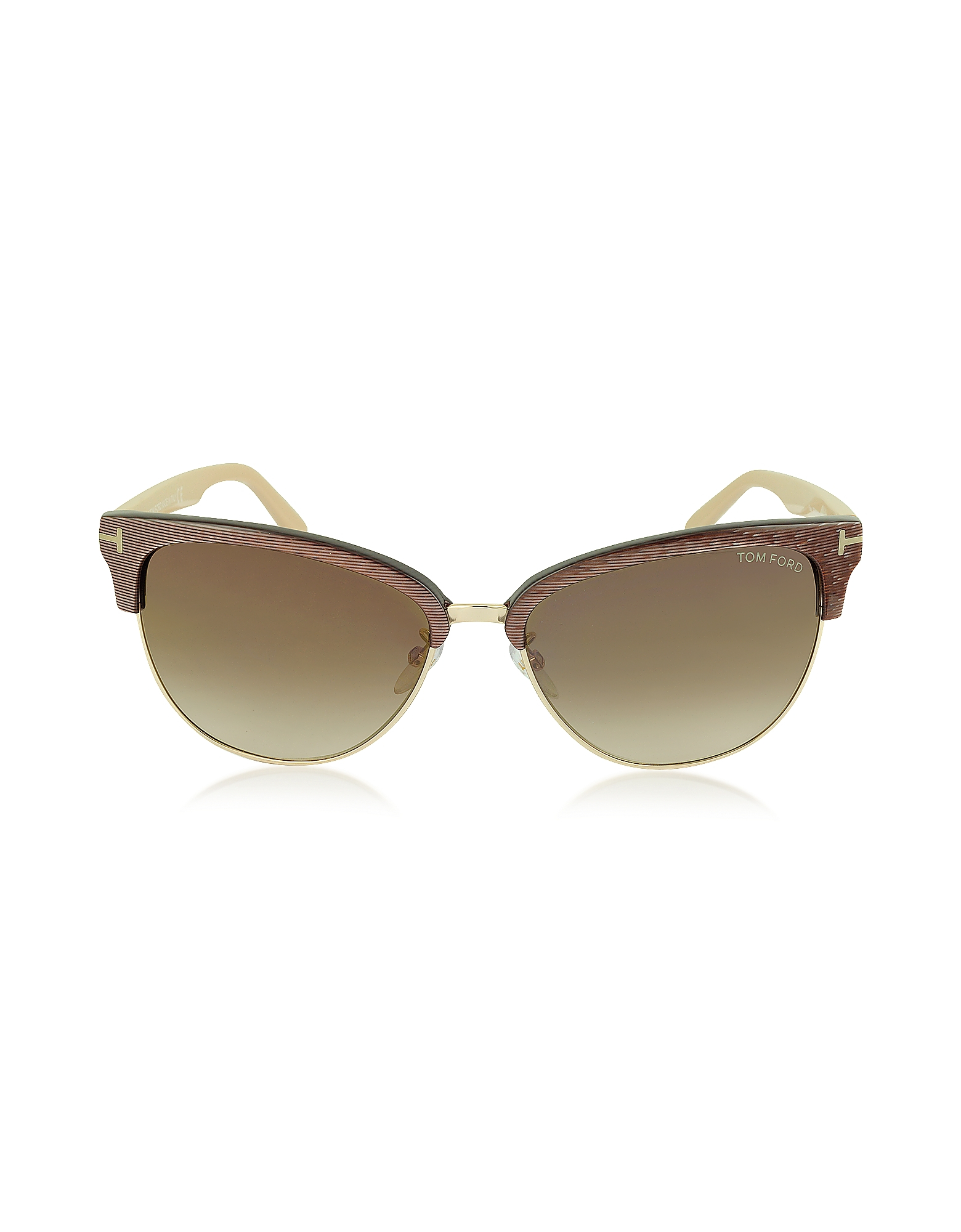 a817db98fbd86 Lyst - Tom Ford Fany Ft0368 50g Brown Acetate And Gold Metal Cat Eye ...