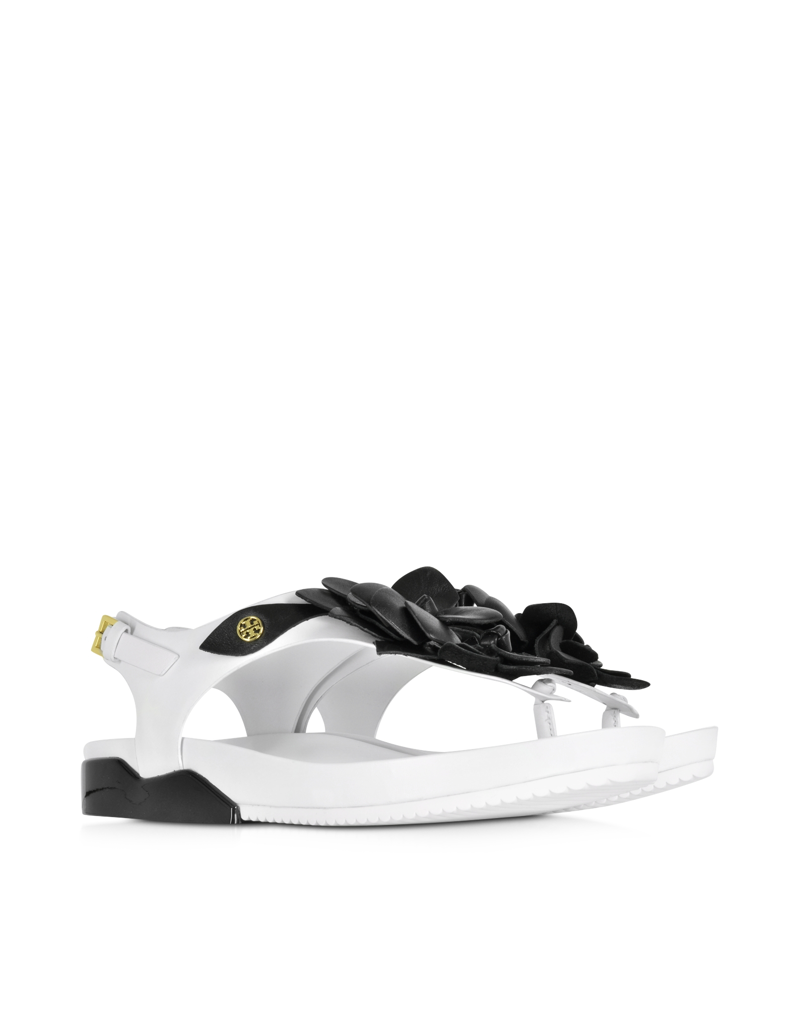 Tory Burch Blossom Two Tone Leather Sandal In White Lyst