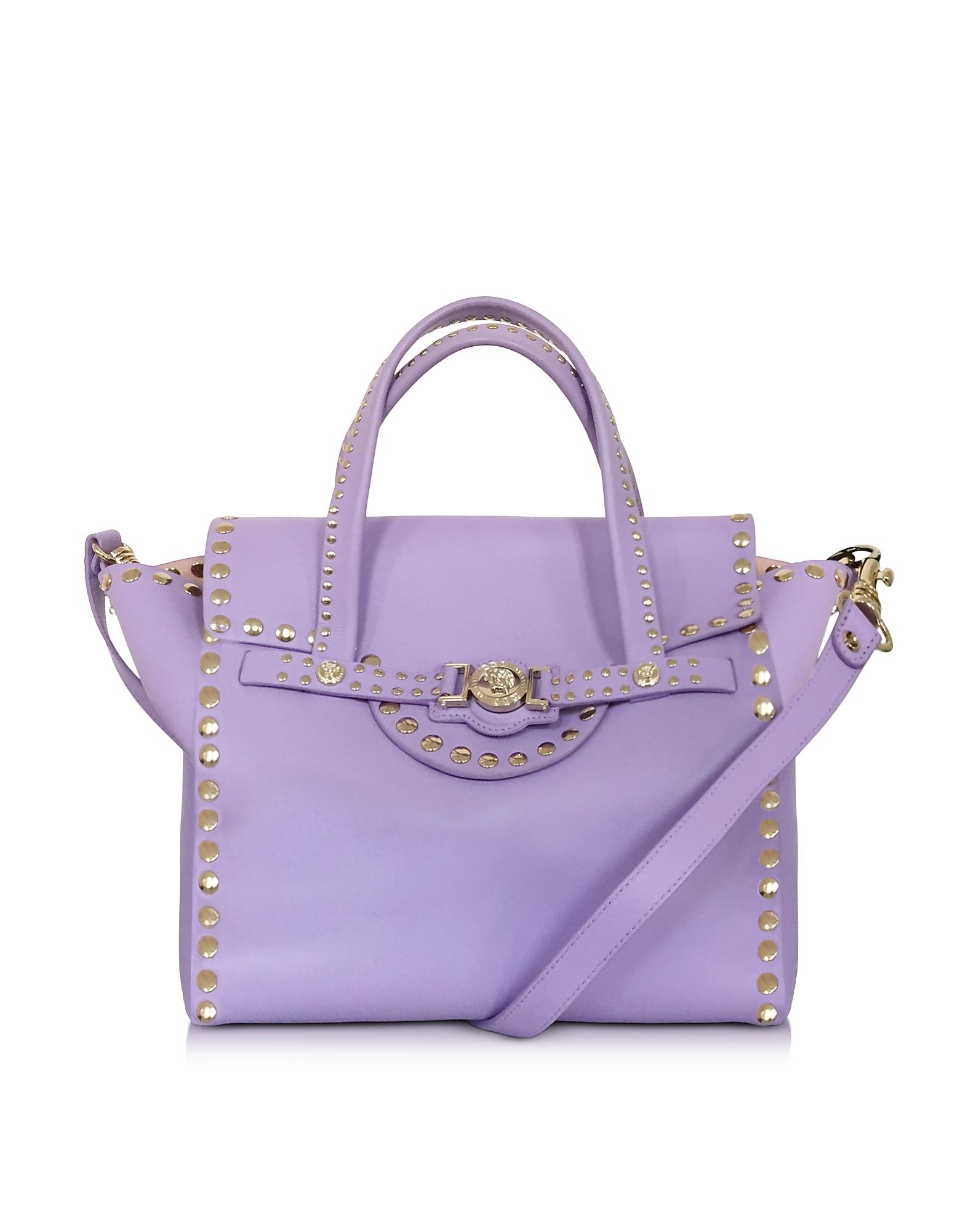 Lyst - Versace Lilac Nappa Leather Satchel Bag W studs in Purple 897bd73caf680