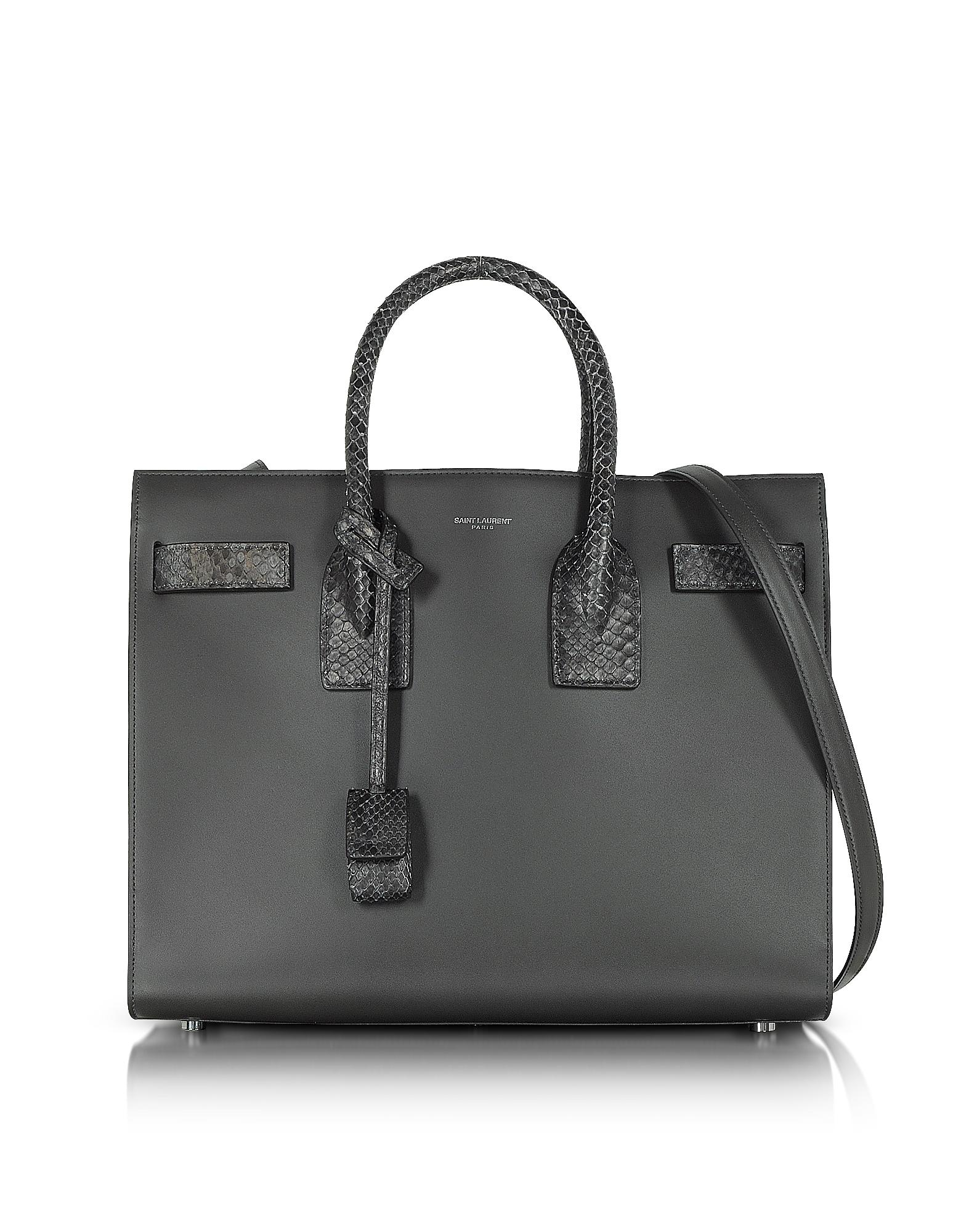 3d35eeb370e1 Saint Laurent Dark Anthracite Leather And Python Skin Classic Small ...
