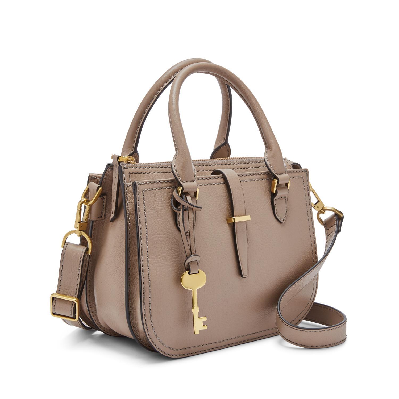 Fossil Leather Ryder Mini Satchel Handbags Light Taupe - Lyst