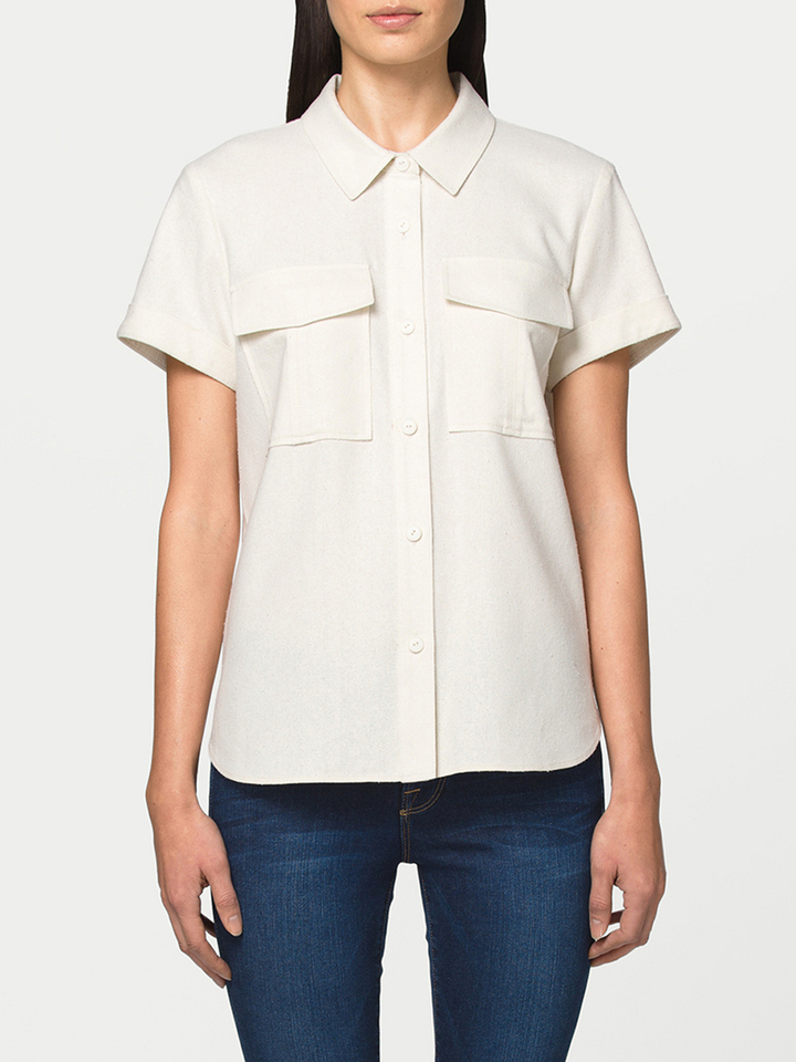 Lyst frame military shirt in white for White military dress shirt
