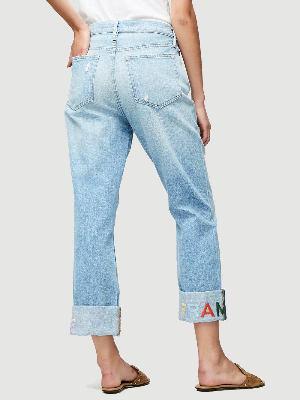 FRAME Denim Le Embroidery Cuff Jean in Blue