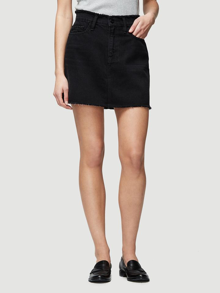 30ca00c5f FRAME Le Mini Skirt Raw Edge Frayed in Black - Lyst