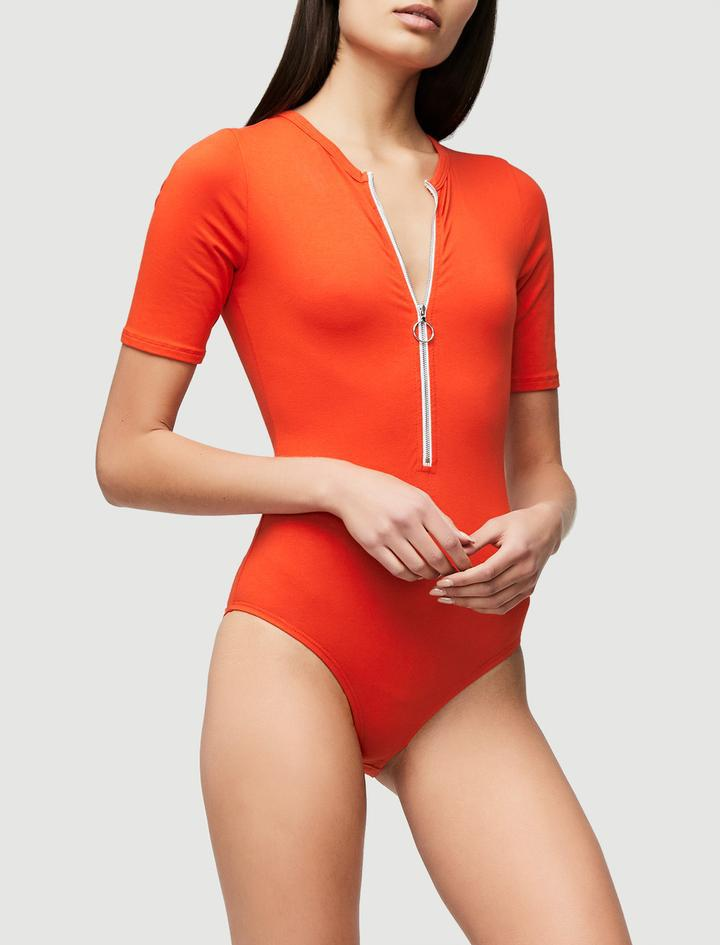 e369ead96a FRAME Zip Up Bodysuit in Red - Lyst