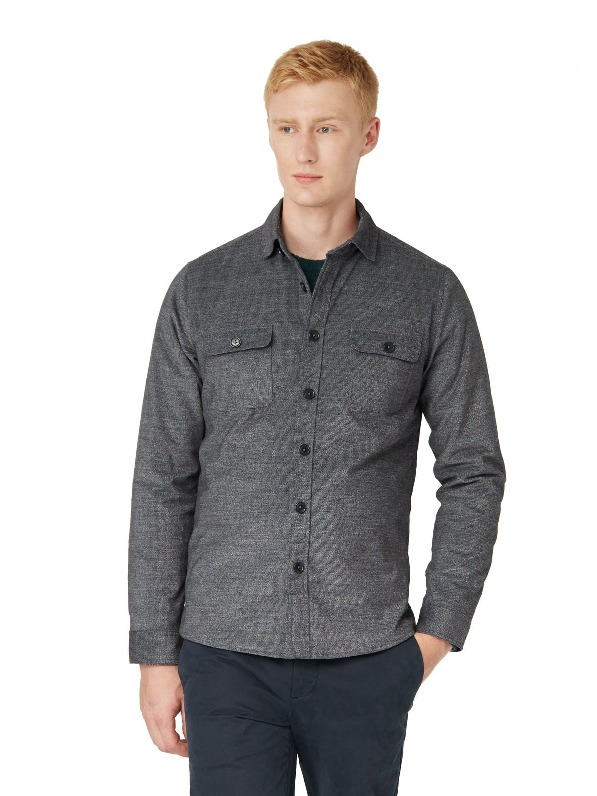 Lyst frank oak quilted corduroy overshirt in charcoal for Frank and oak shirt