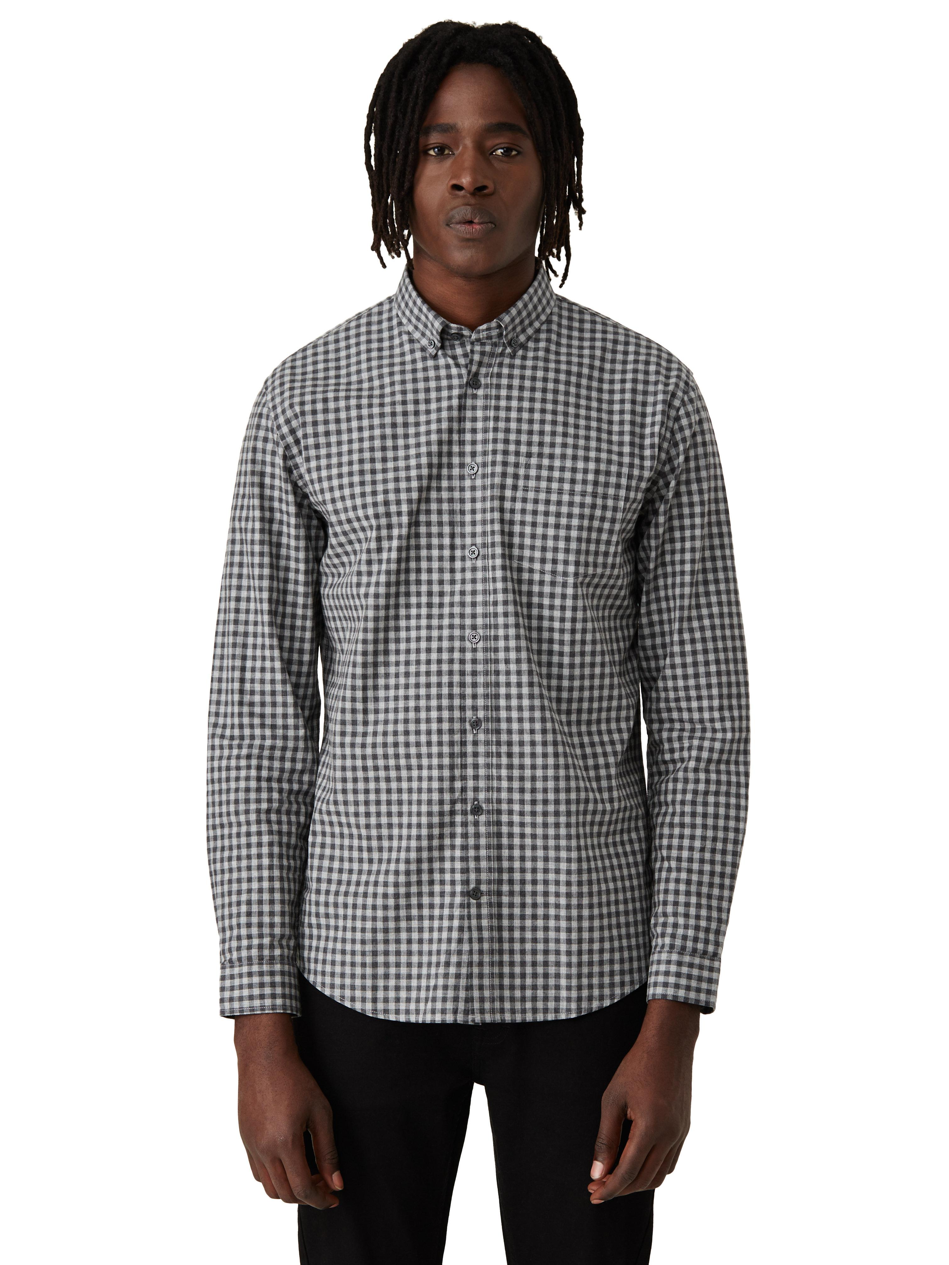 Frank oak branford small gingham shirt in grey in gray for Frank and oak shirt
