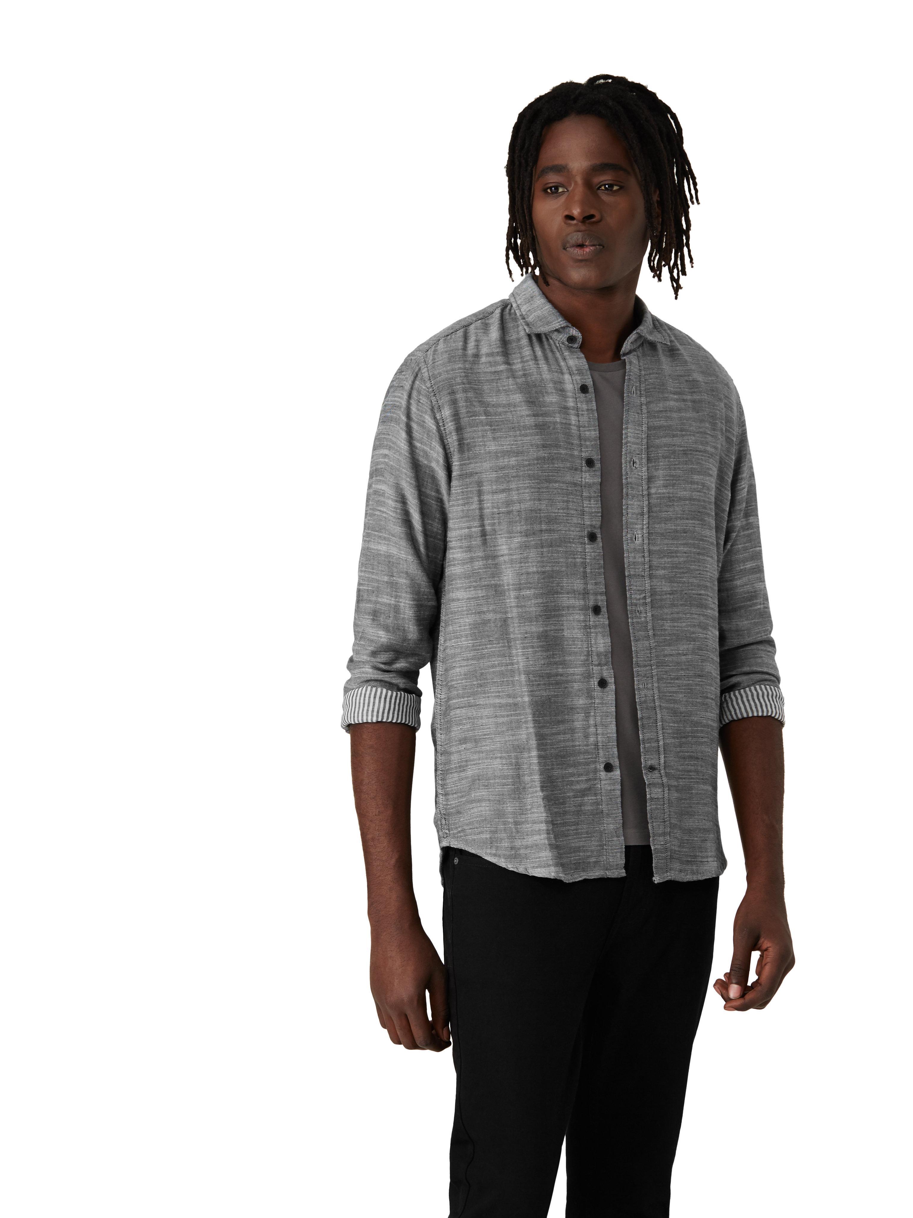 Frank and oak double face slub shirt in grey in gray for for Frank and oak shirt