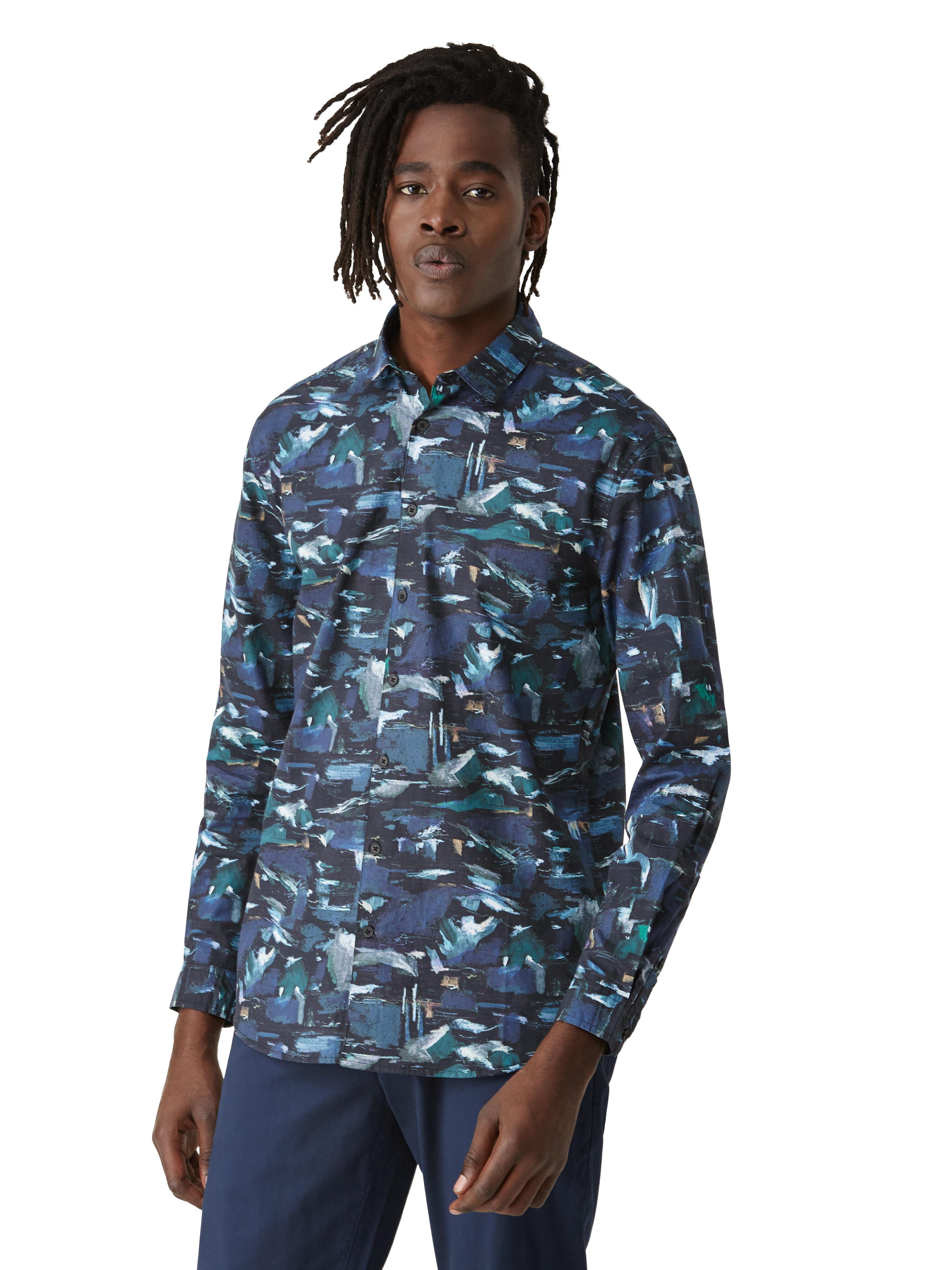 Frank oak borealis print poplin shirt in blue in blue for Frank and oak shirt