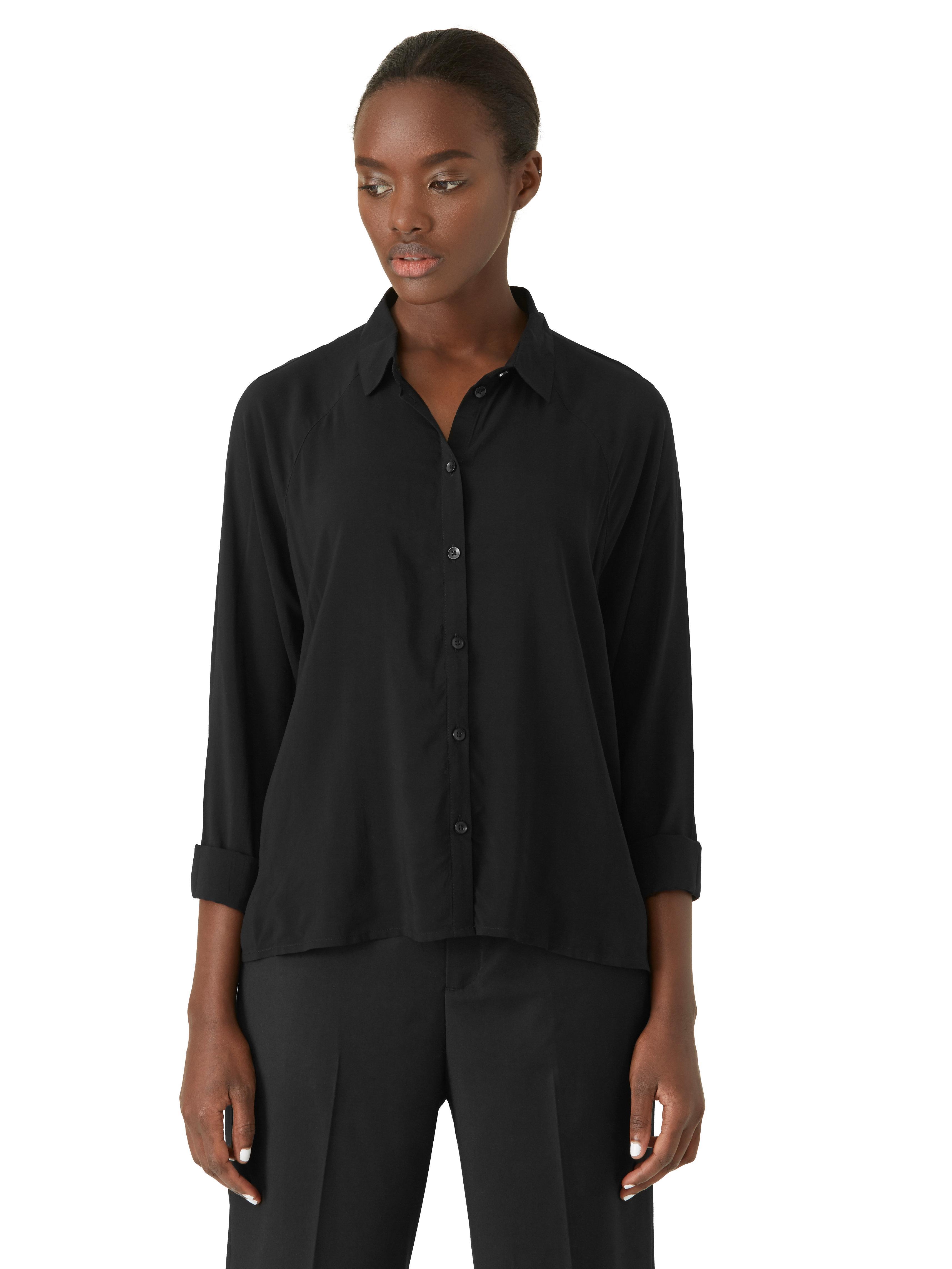Frank oak fluid raglan shirt in black in black lyst for Frank and oak shirt