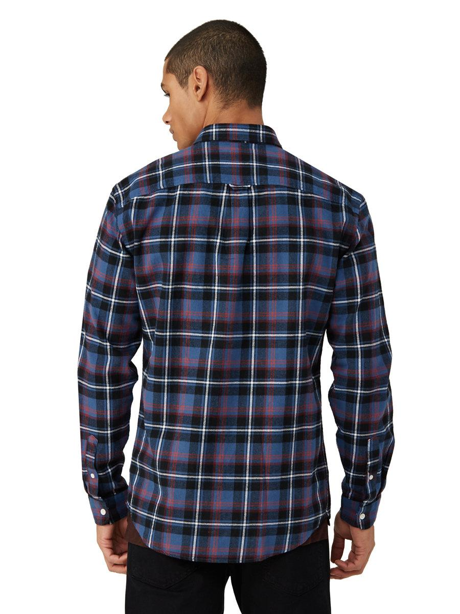 Lyst frank oak brushed flannel plaid shirt in blue in for Frank and oak shirt