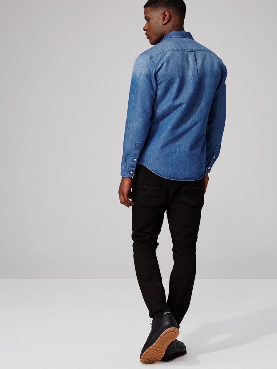 Frank oak marfa slim fit washed denim shirt in blue in for Frank and oak shirt