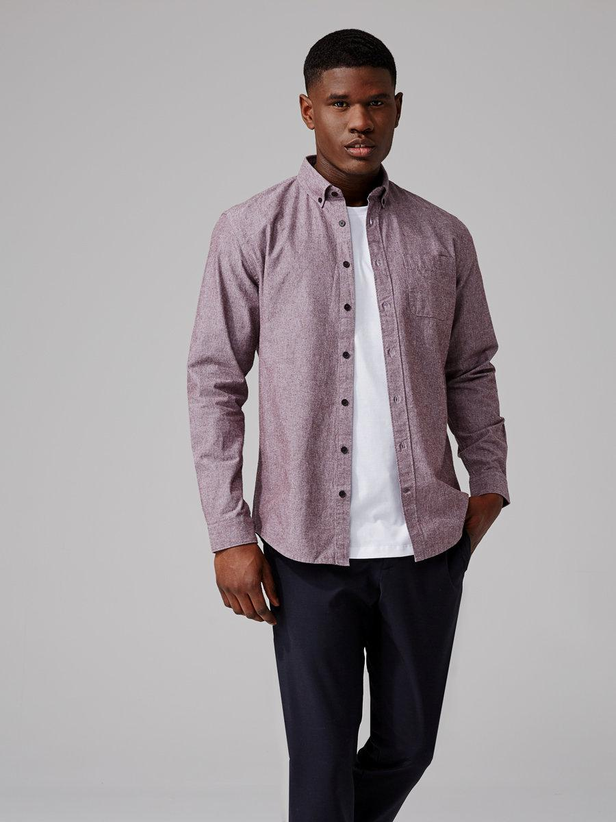 Frank oak the odessa chambray shirt in mahogany for men for Frank and oak shirt