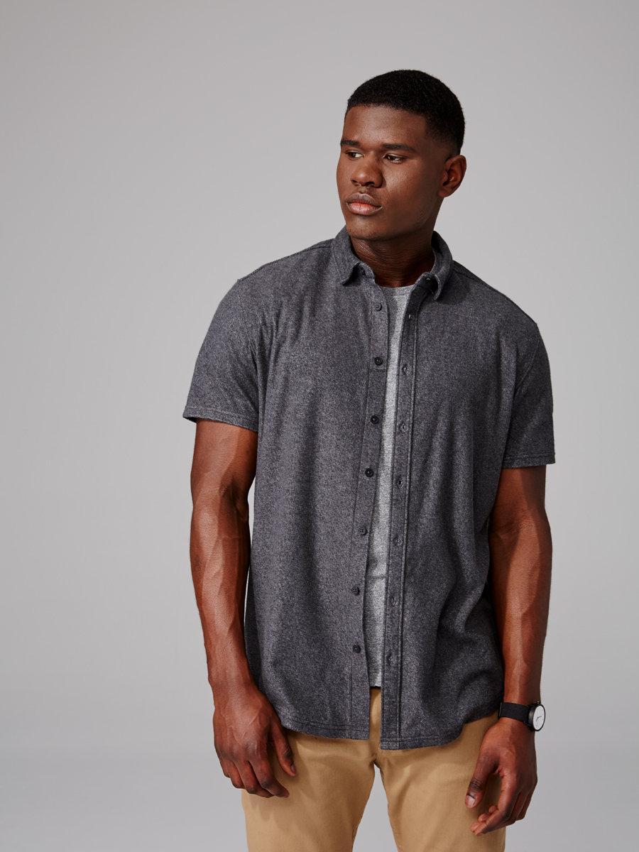 Frank oak cotton blend knit button down shirt in for Frank and oak shirt