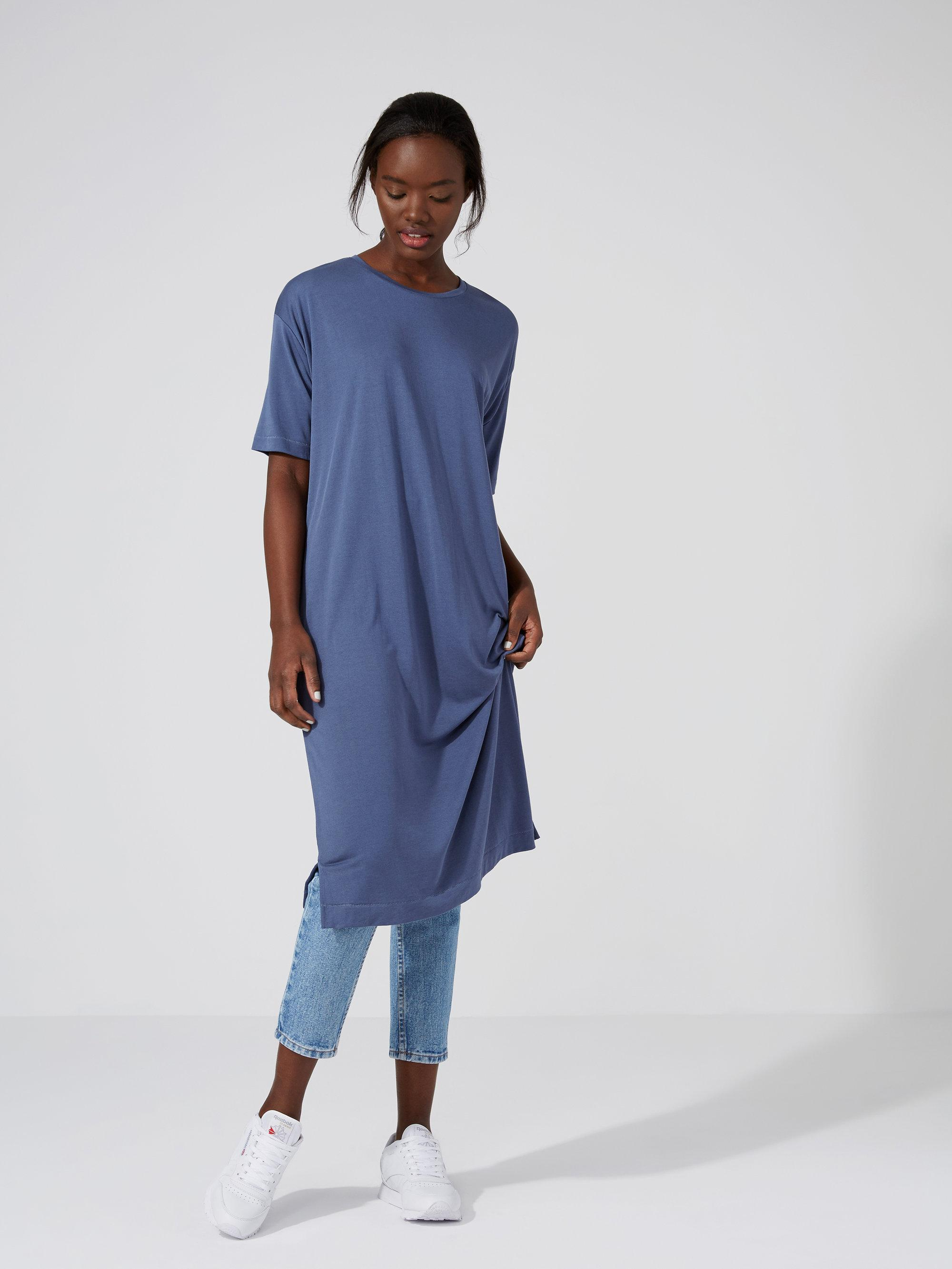 Frank oak fluid t shirt dress in vintage indigo in blue for Frank and oak shirt
