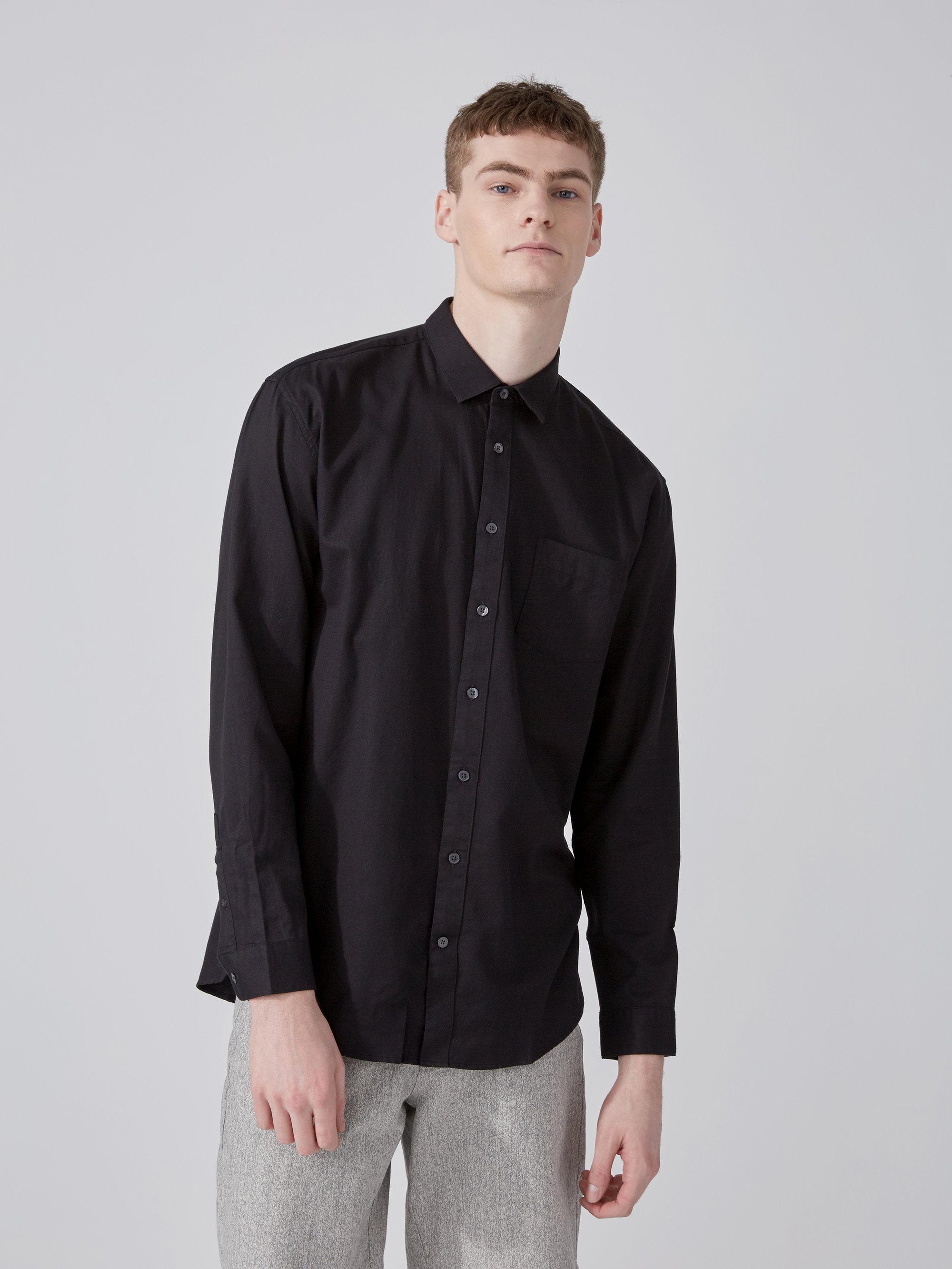 Lyst frank oak oversized cotton tencel shirt in true for Frank and oak shirt