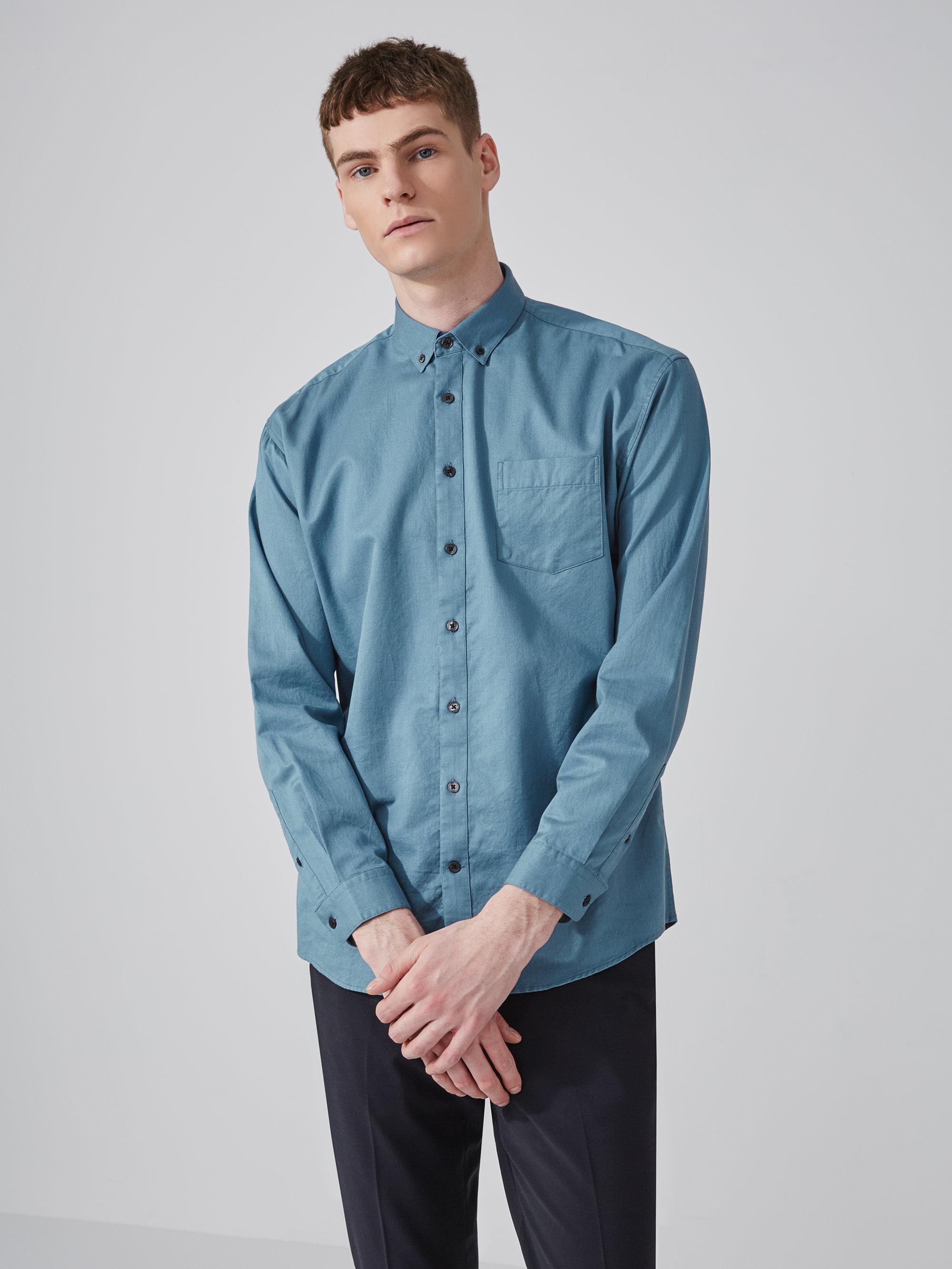 Frank oak oversized cotton tencel shirt in blue stone in for Frank and oak shirt