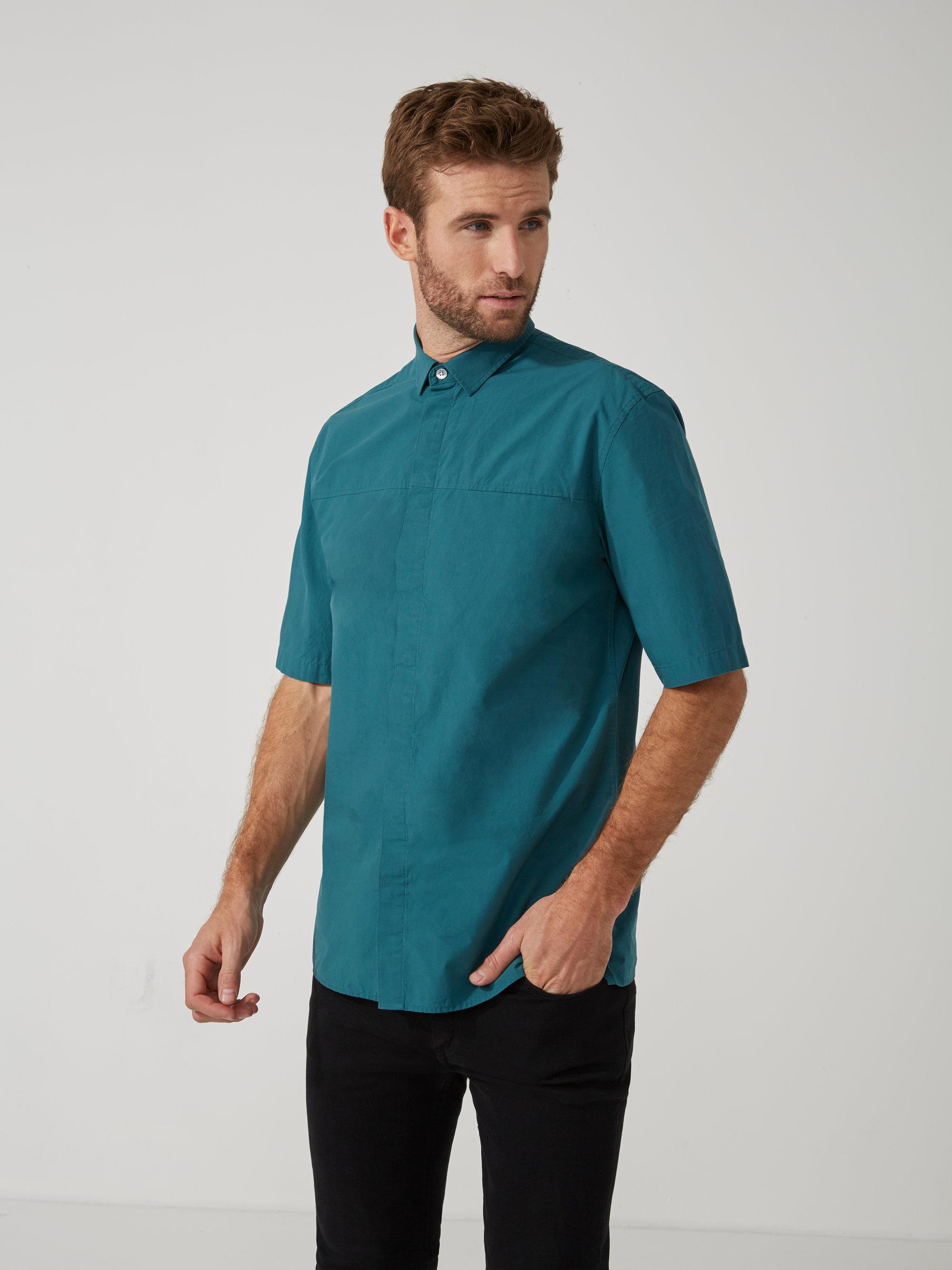 Frank oak oversized poplin cotton short sleeve shirt in for Frank and oak shirt