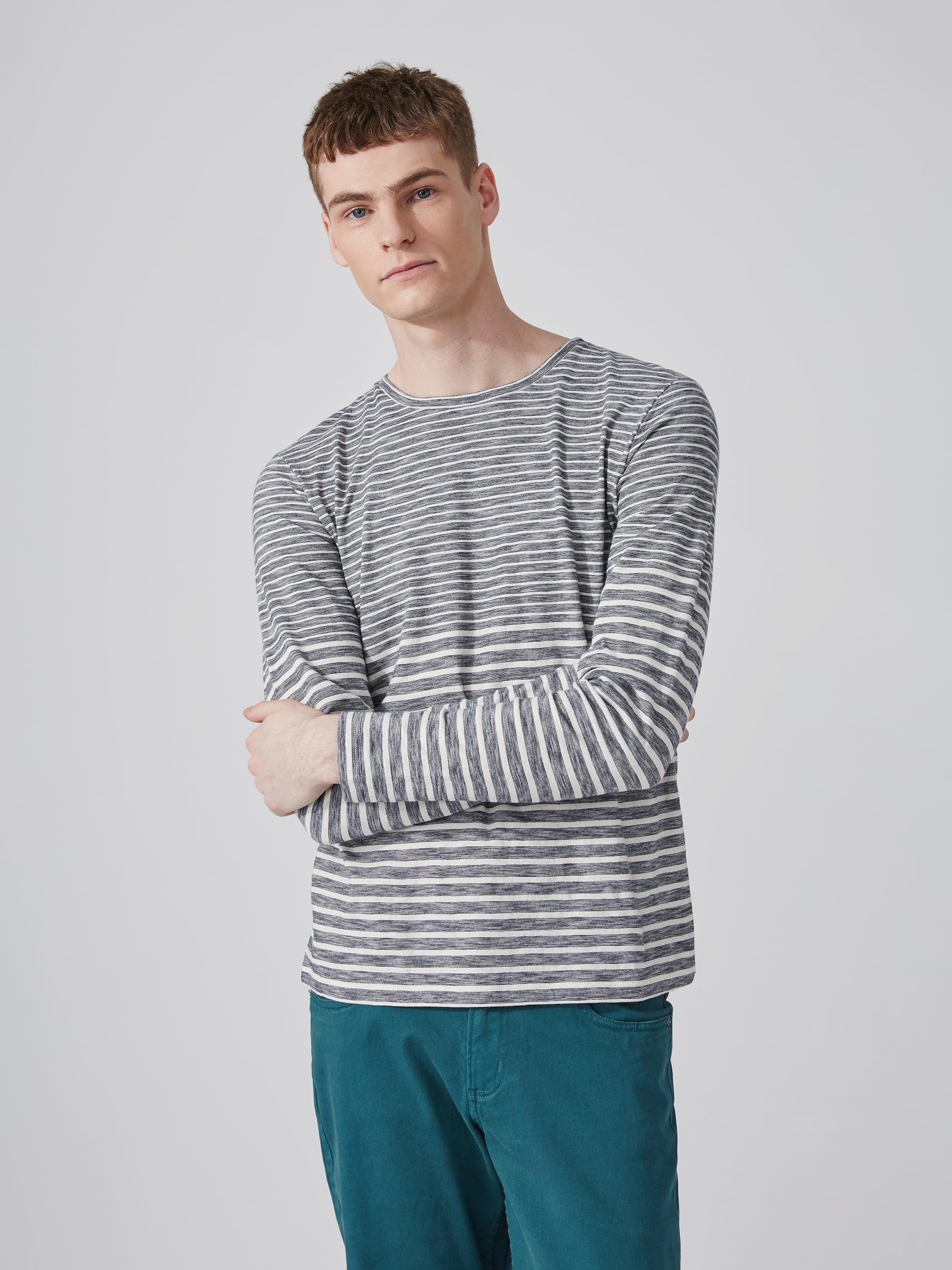 Frank oak multi stripe cotton crewneck t shirt in navy for Frank and oak shirt