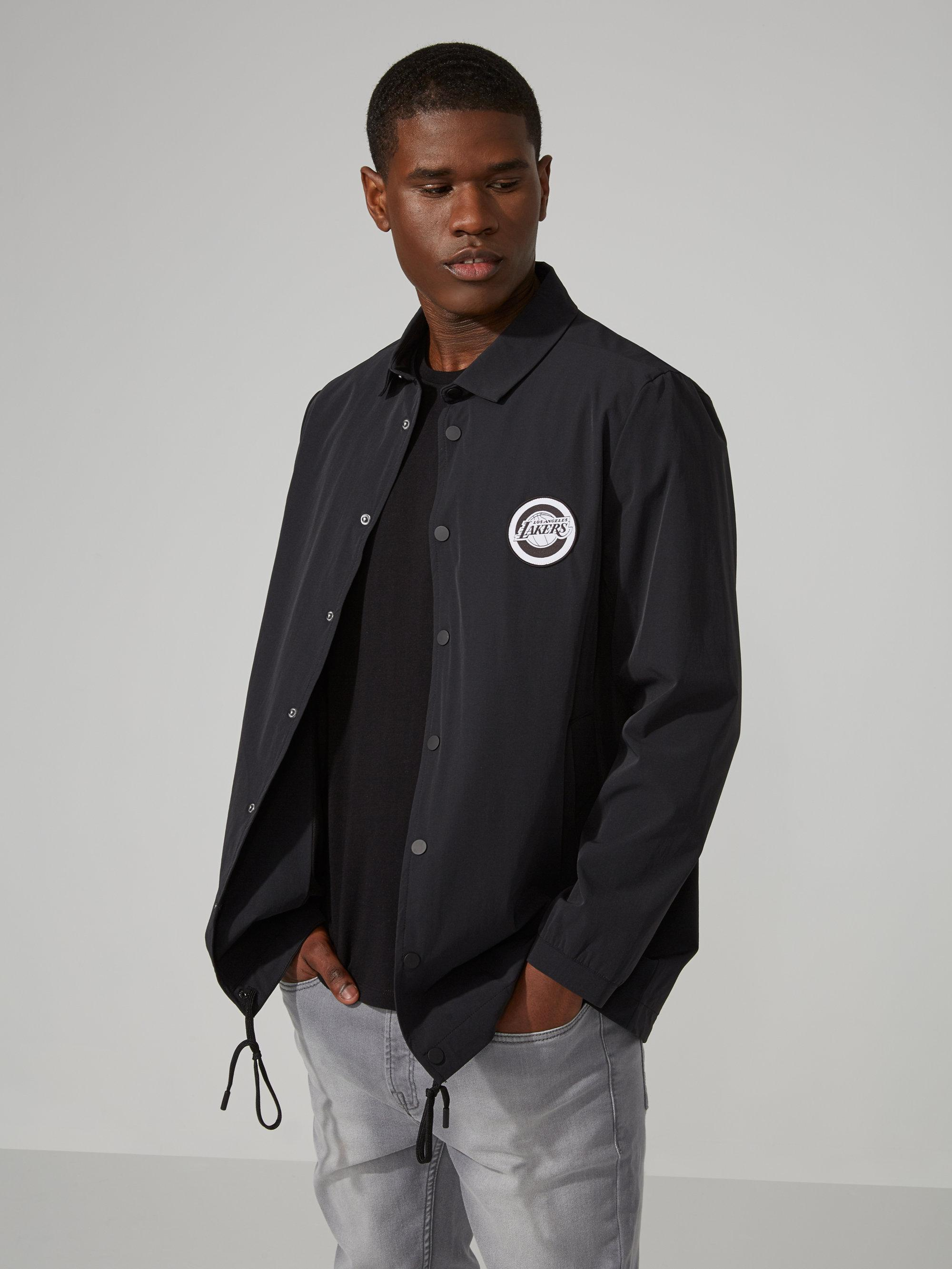 Lyst frank and oak l a lakers jacket in black in black for Frank and oak shirt