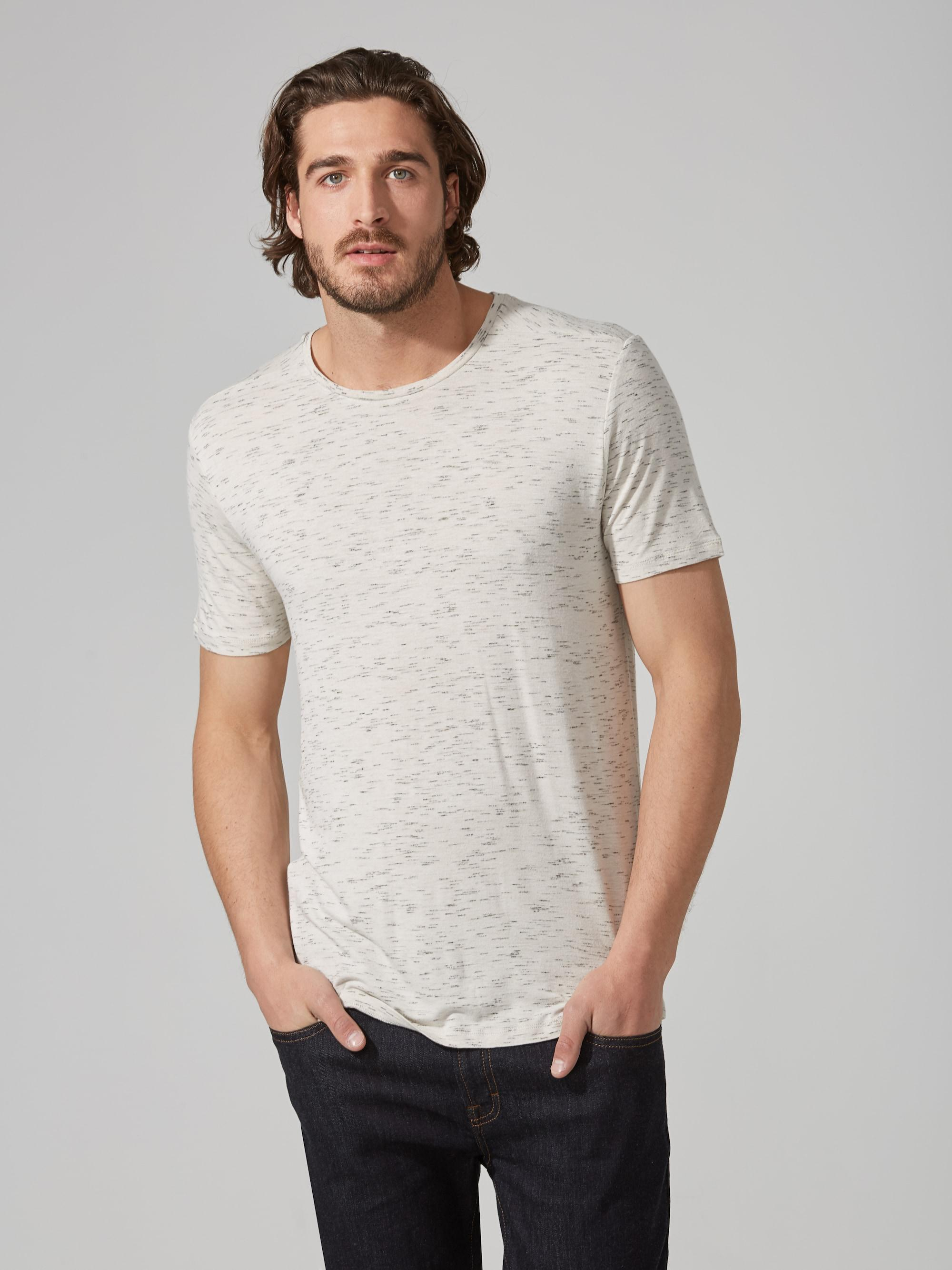 Frank and oak loose fit jersey t shirt in white melange in for Frank and oak shirt