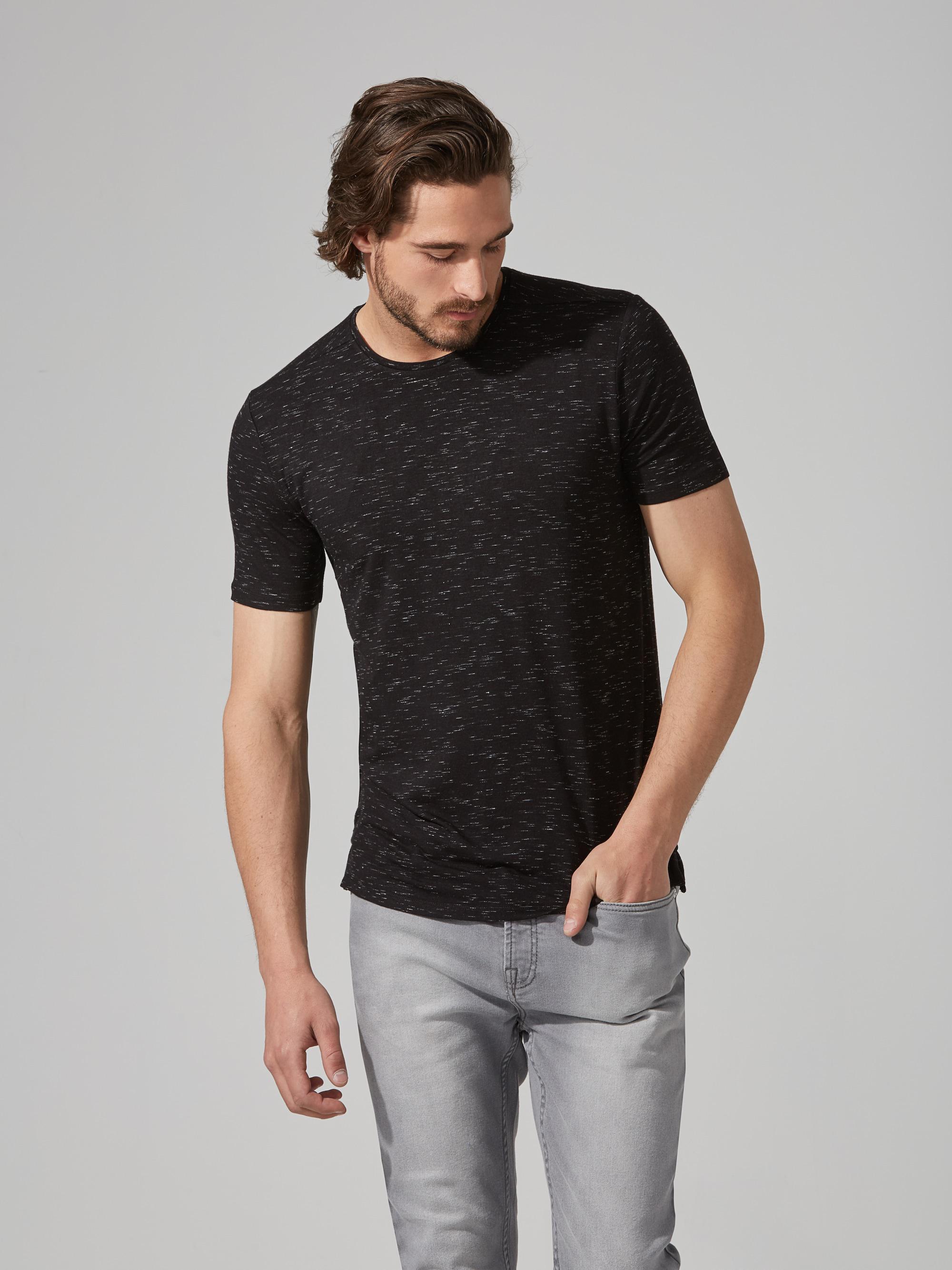 6414479932 Lyst - Frank And Oak Loose Fit Jersey T-shirt In Black Melange in ...