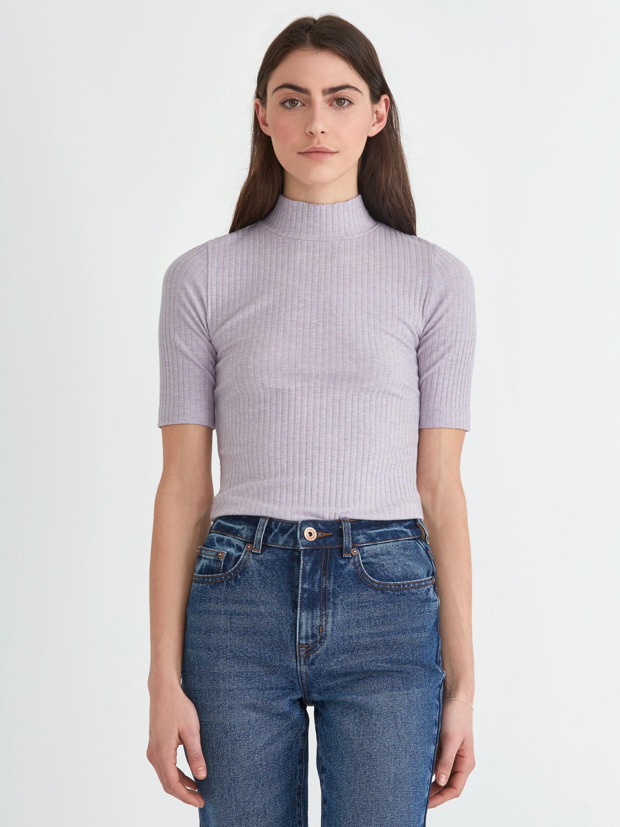 Frank + Oak. Women's Ribbed Mockneck Cotton-blend Top In Lavender Heather