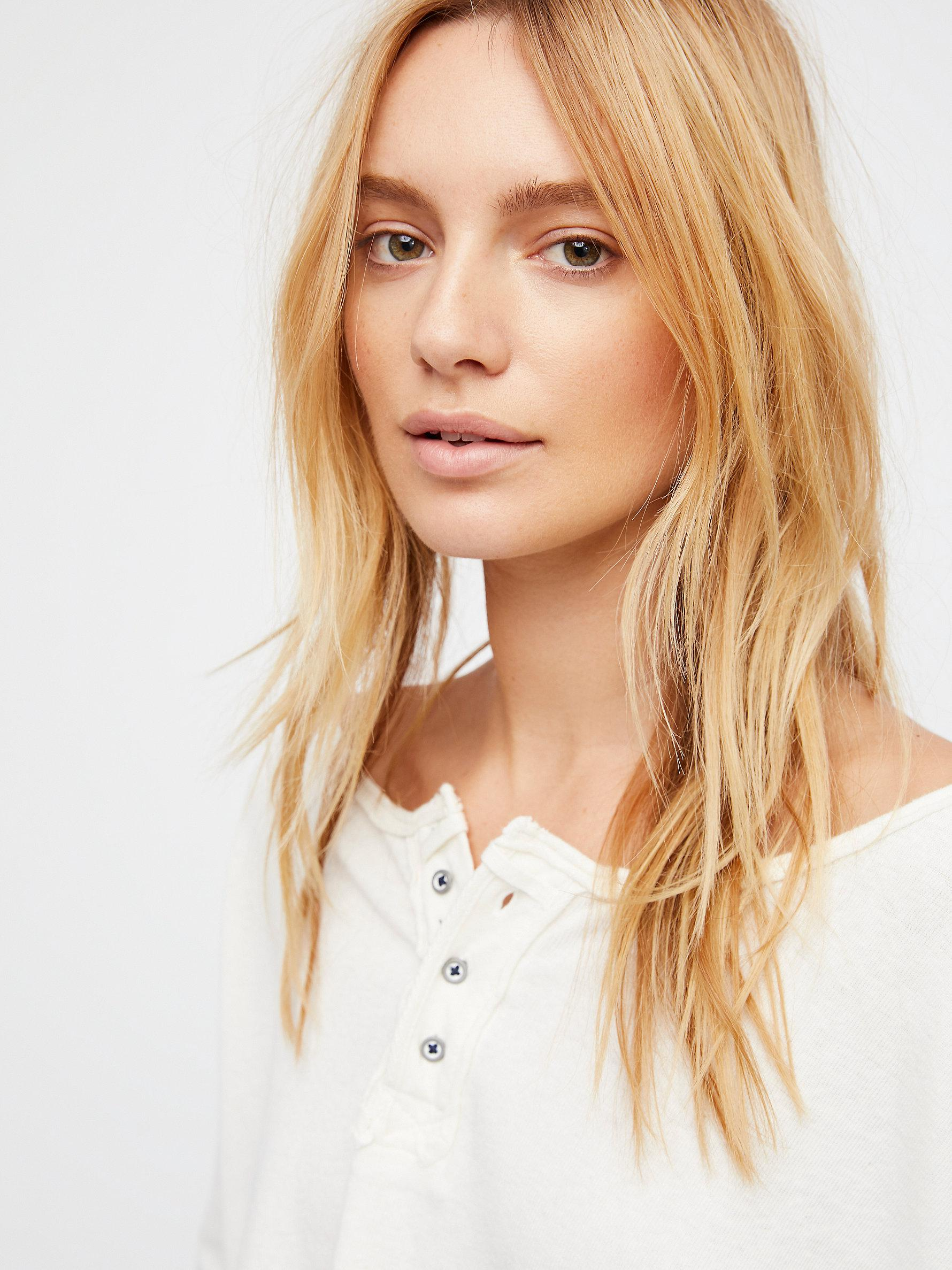 Free People Linen We The Free Star Henley in Ivory Combo (White)